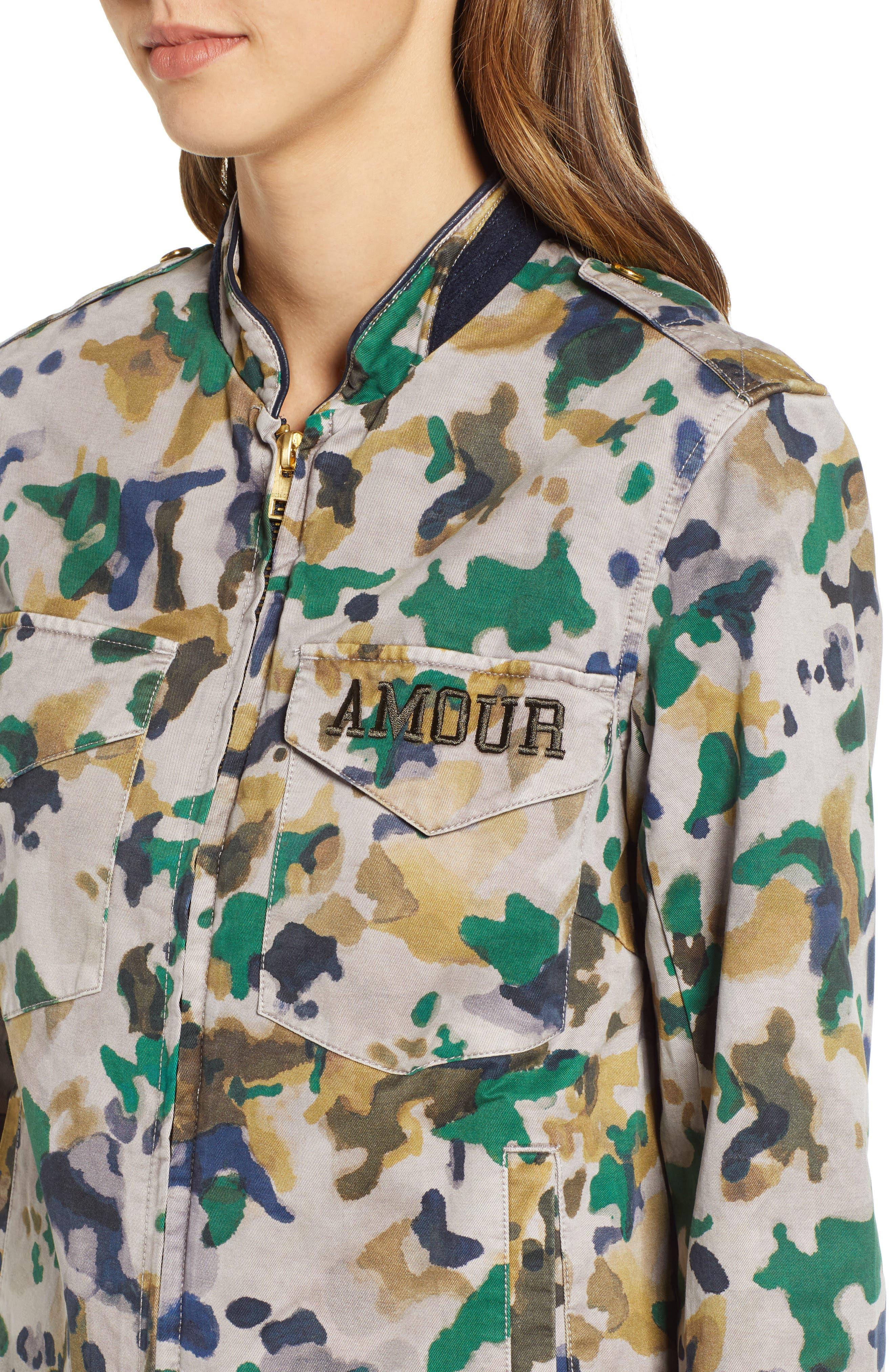 Kavy Watercolor Camouflage Cotton Jacket,                             Alternate thumbnail 4, color,                             MULTI