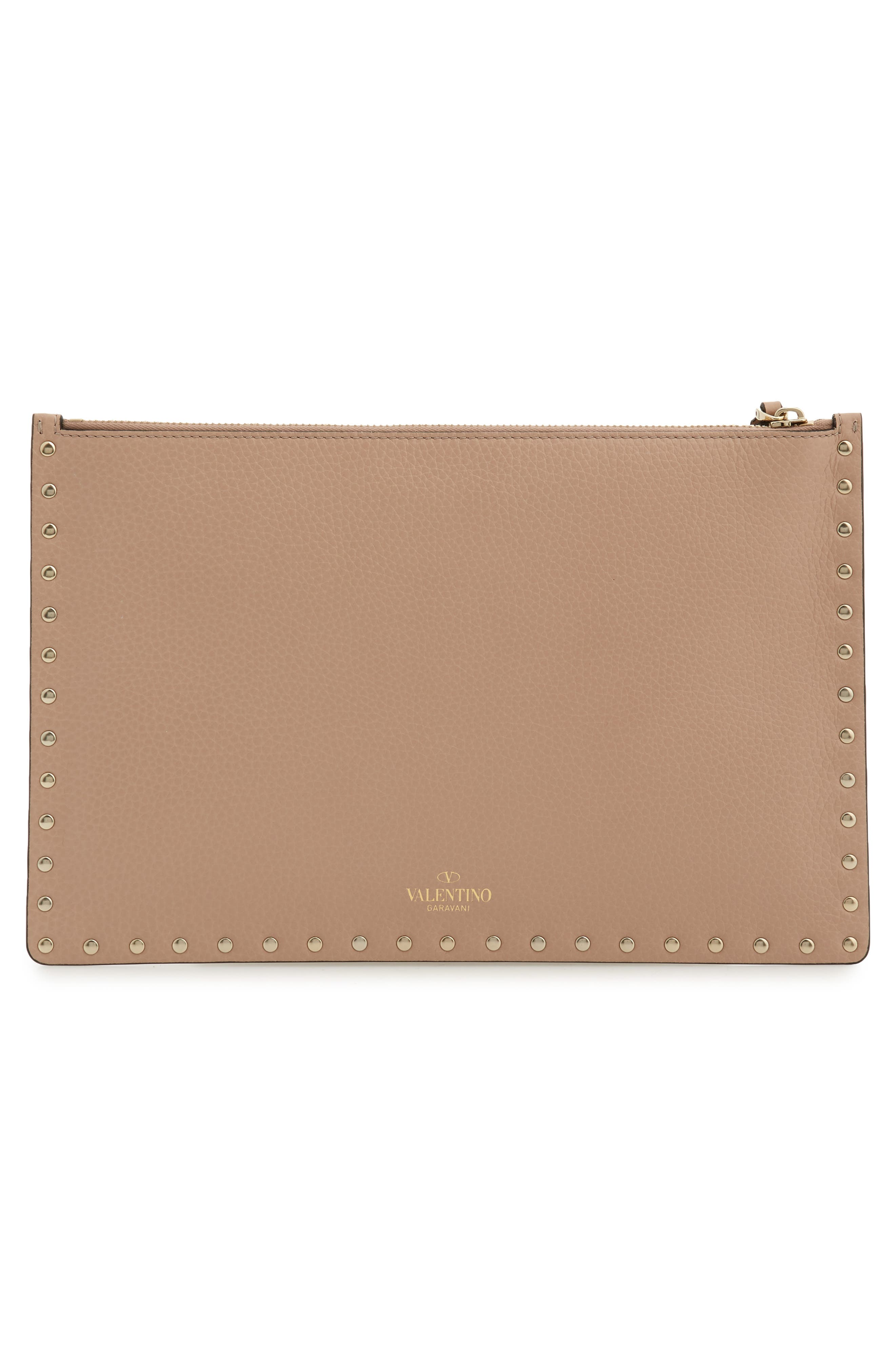 Large Rockstud Flat Leather Pouch,                             Alternate thumbnail 3, color,                             POUDRE