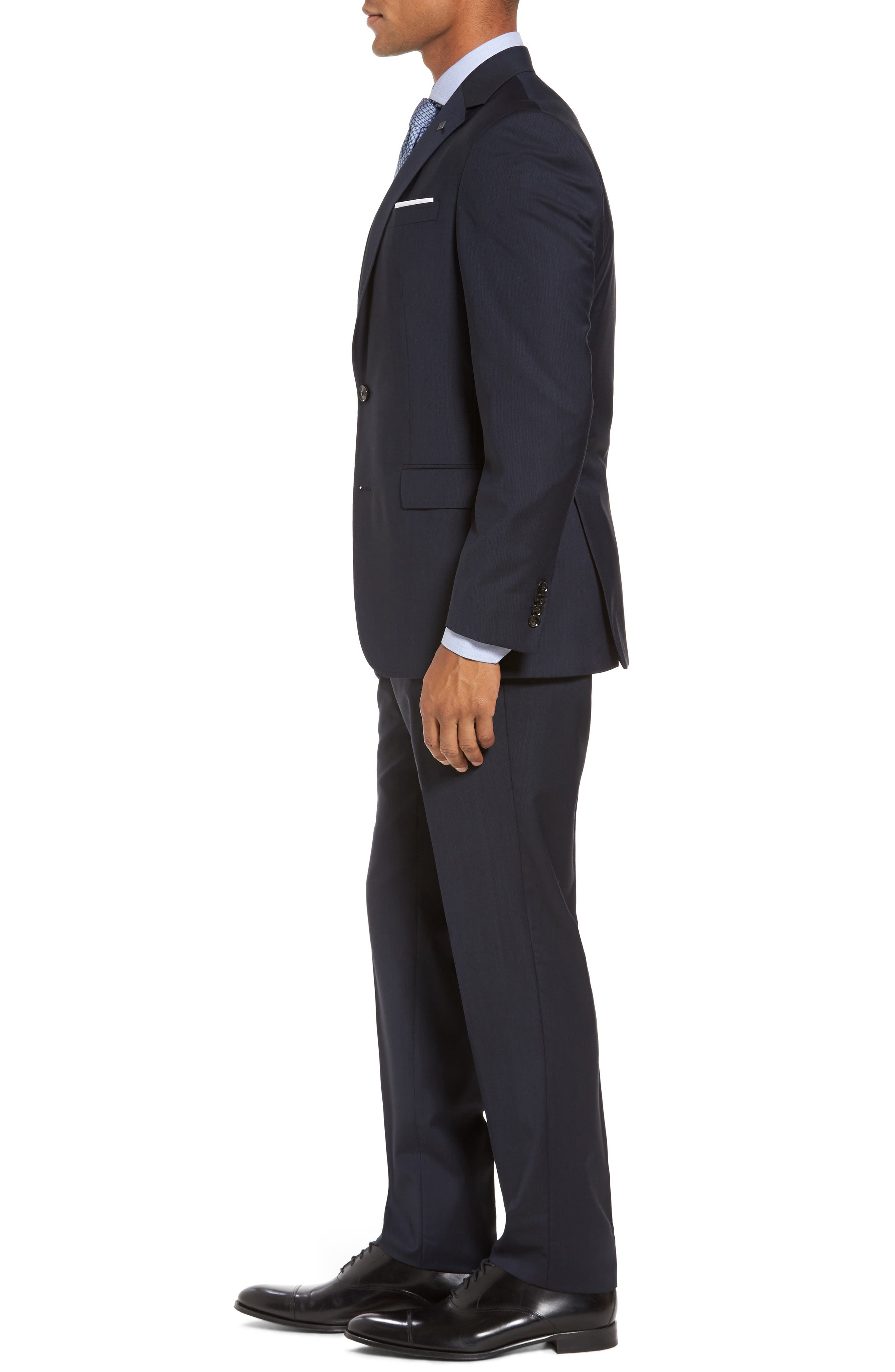 Trim Fit Solid Wool Suit,                             Alternate thumbnail 3, color,