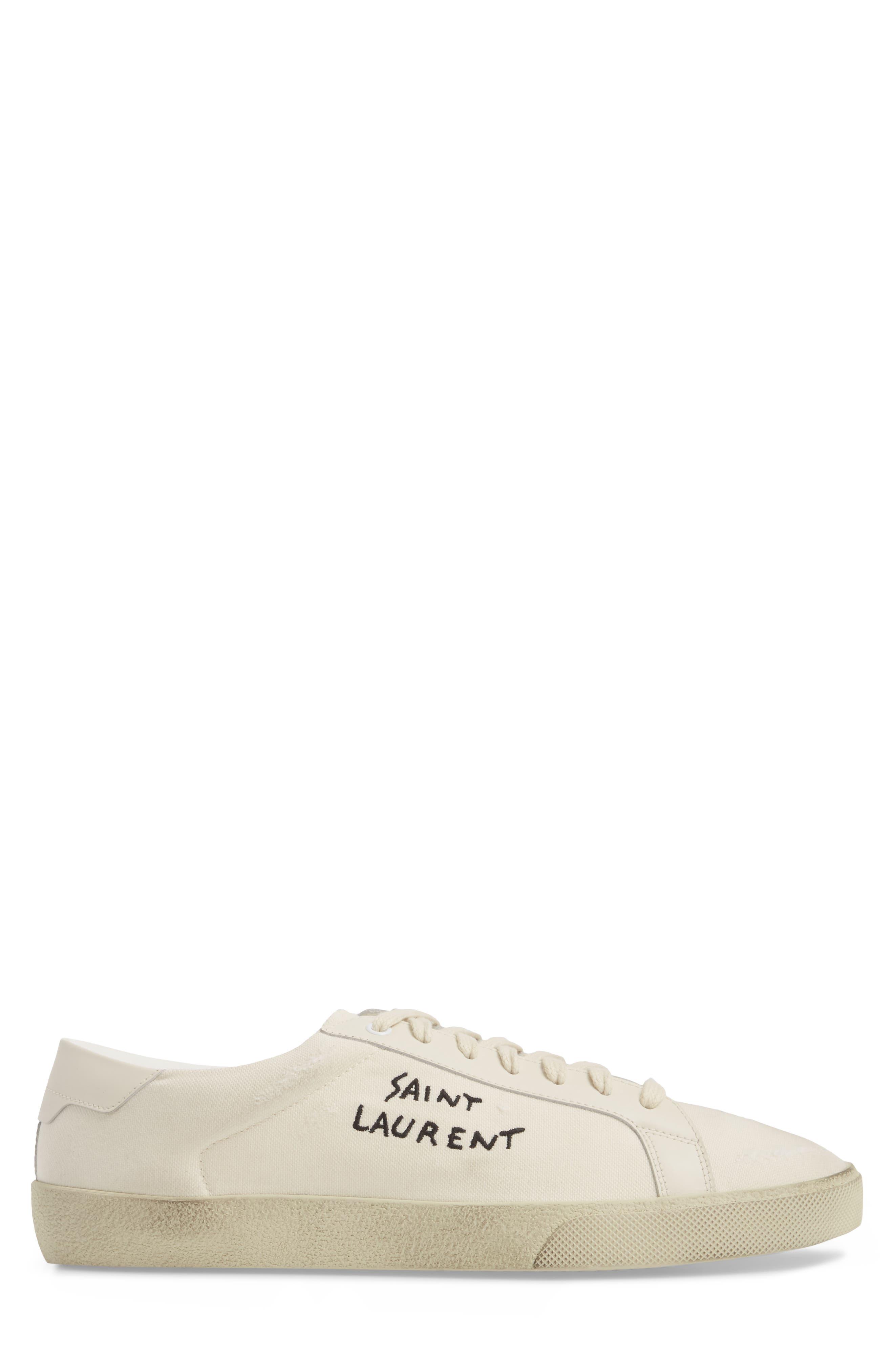 SAINT LAURENT,                             Logo Embroidered Sneaker,                             Alternate thumbnail 3, color,                             9113 PANNA/PANNA
