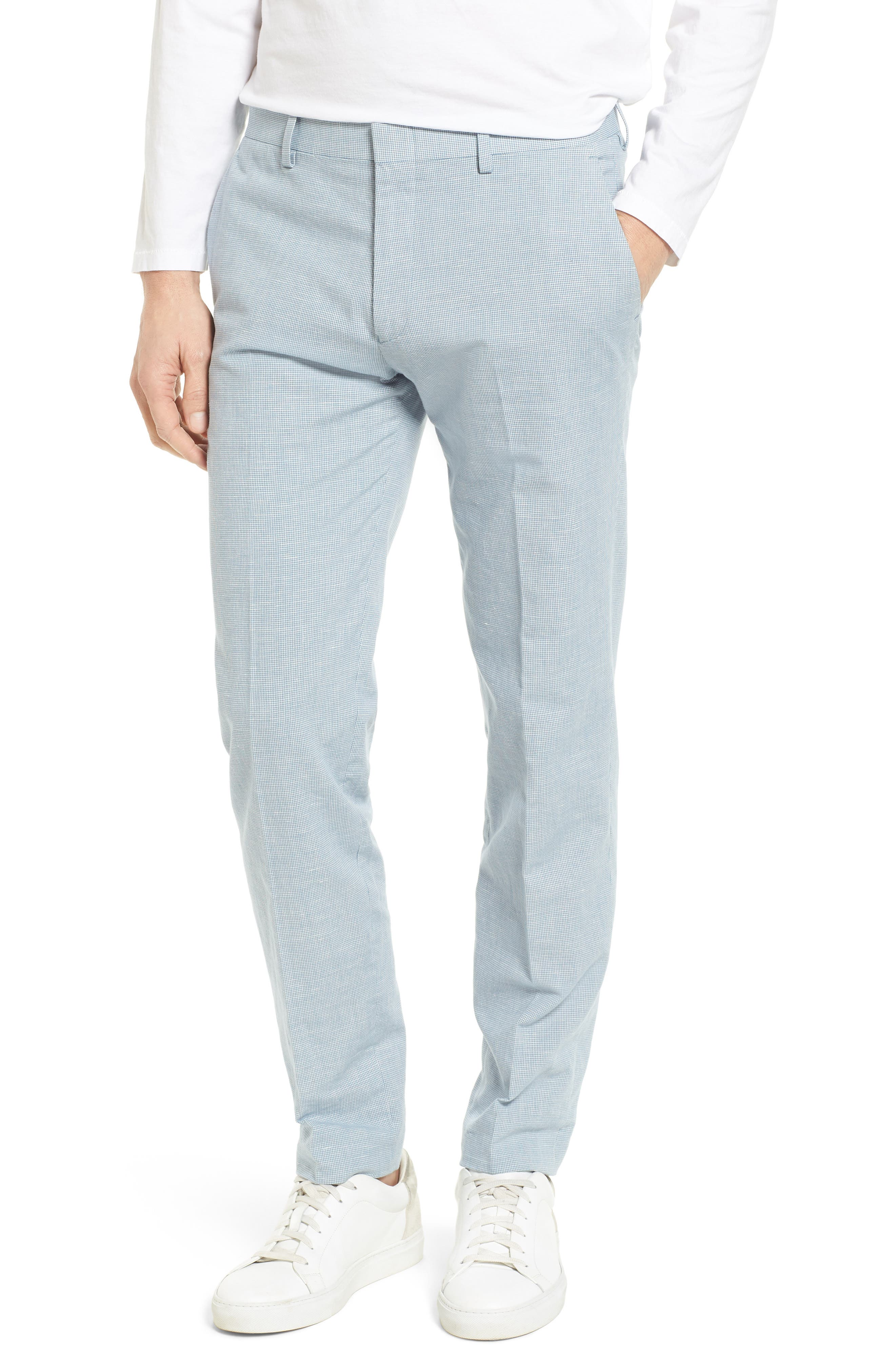 Ludlow Trim Fit Houndstooth Cotton & Linen Suit Pants,                         Main,                         color,