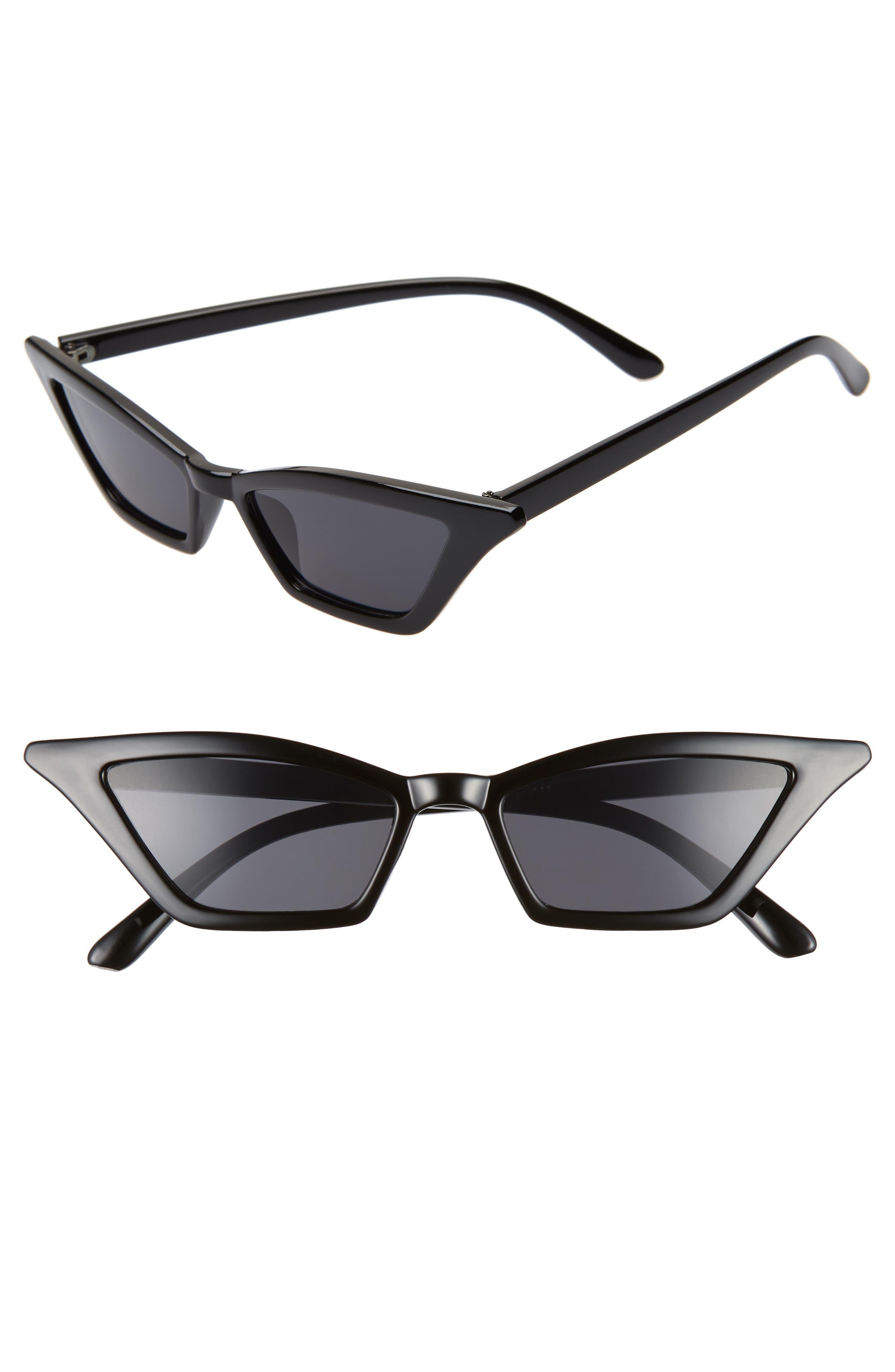 54mm Geometric Sunglasses,                             Main thumbnail 1, color,                             BLACK/ BLACK