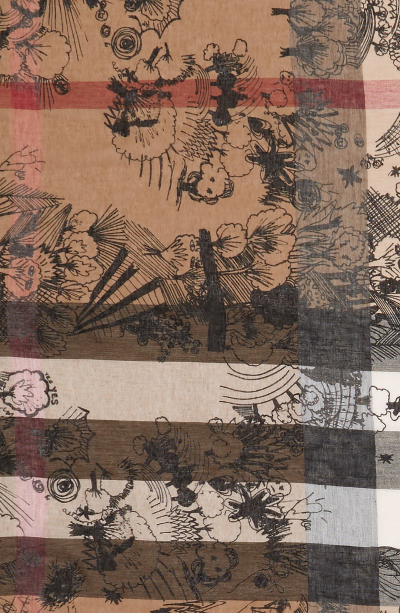 Sketchbook Doodle Mega Check Silk & Cotton Scarf,                             Alternate thumbnail 3, color,                             200