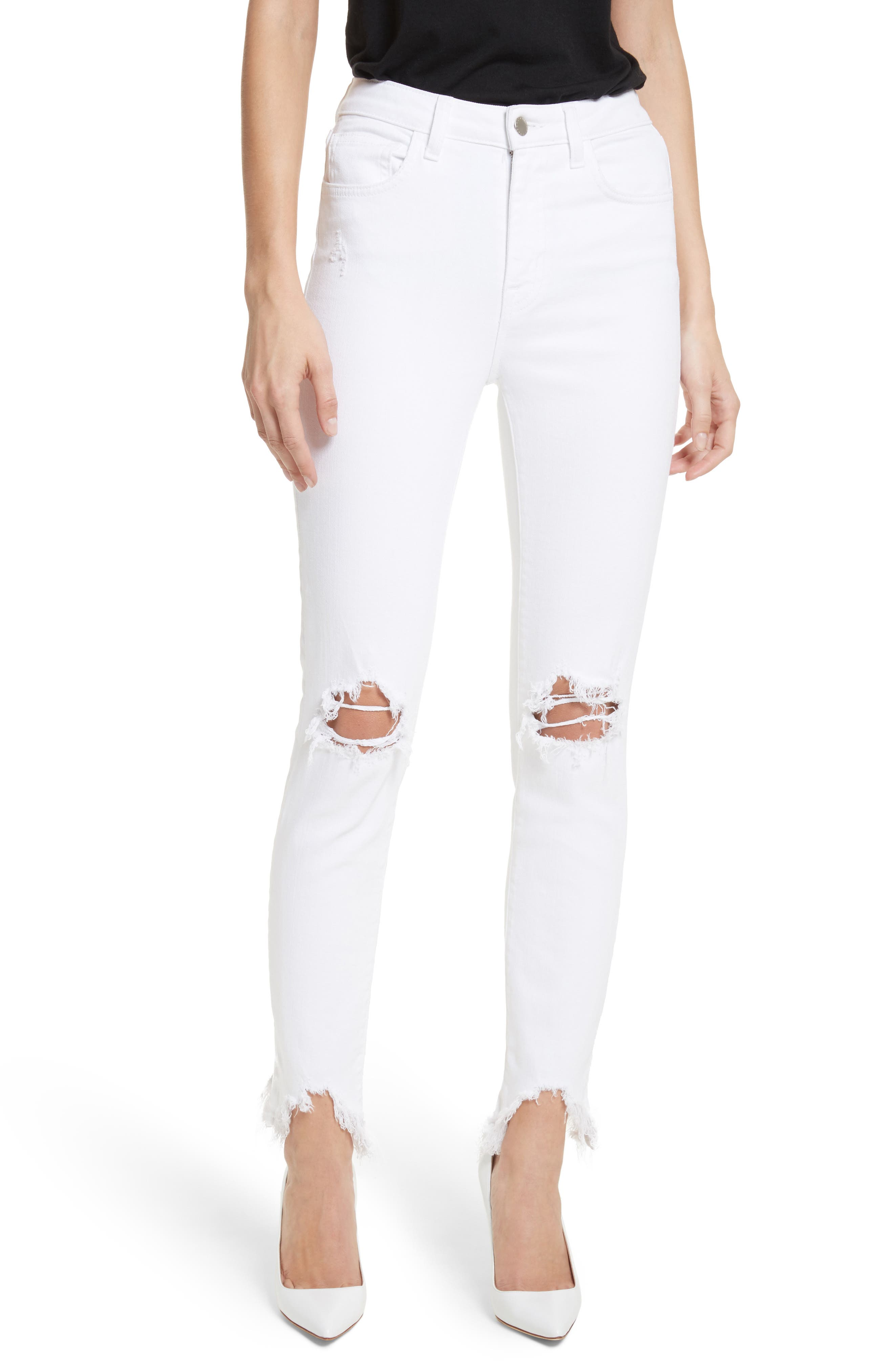 Highline Ripped Skinny Jeans,                             Main thumbnail 1, color,                             100
