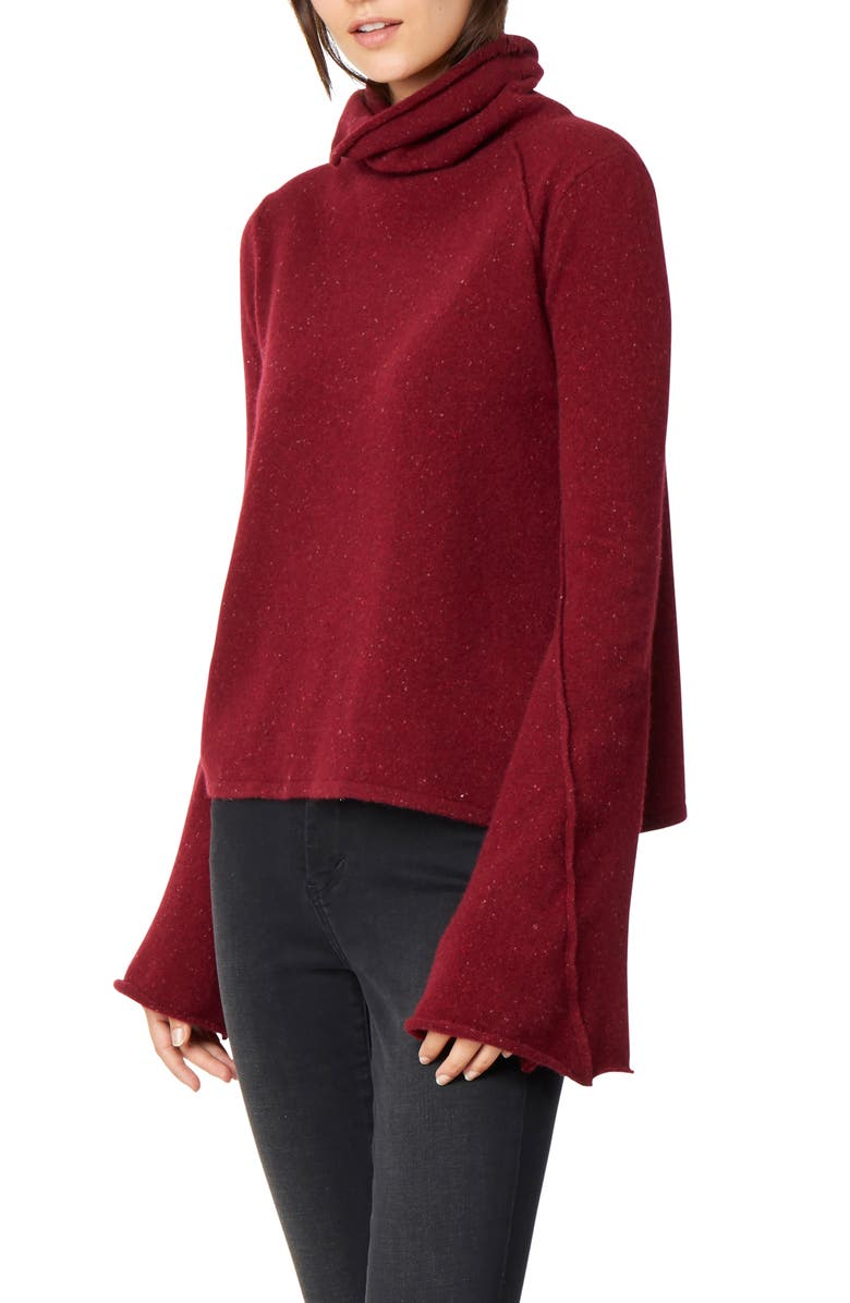 Adalyn Oversize Bell Sleeve Cashmere Sweater,                         Main,                         color, DAPPLED CLARET