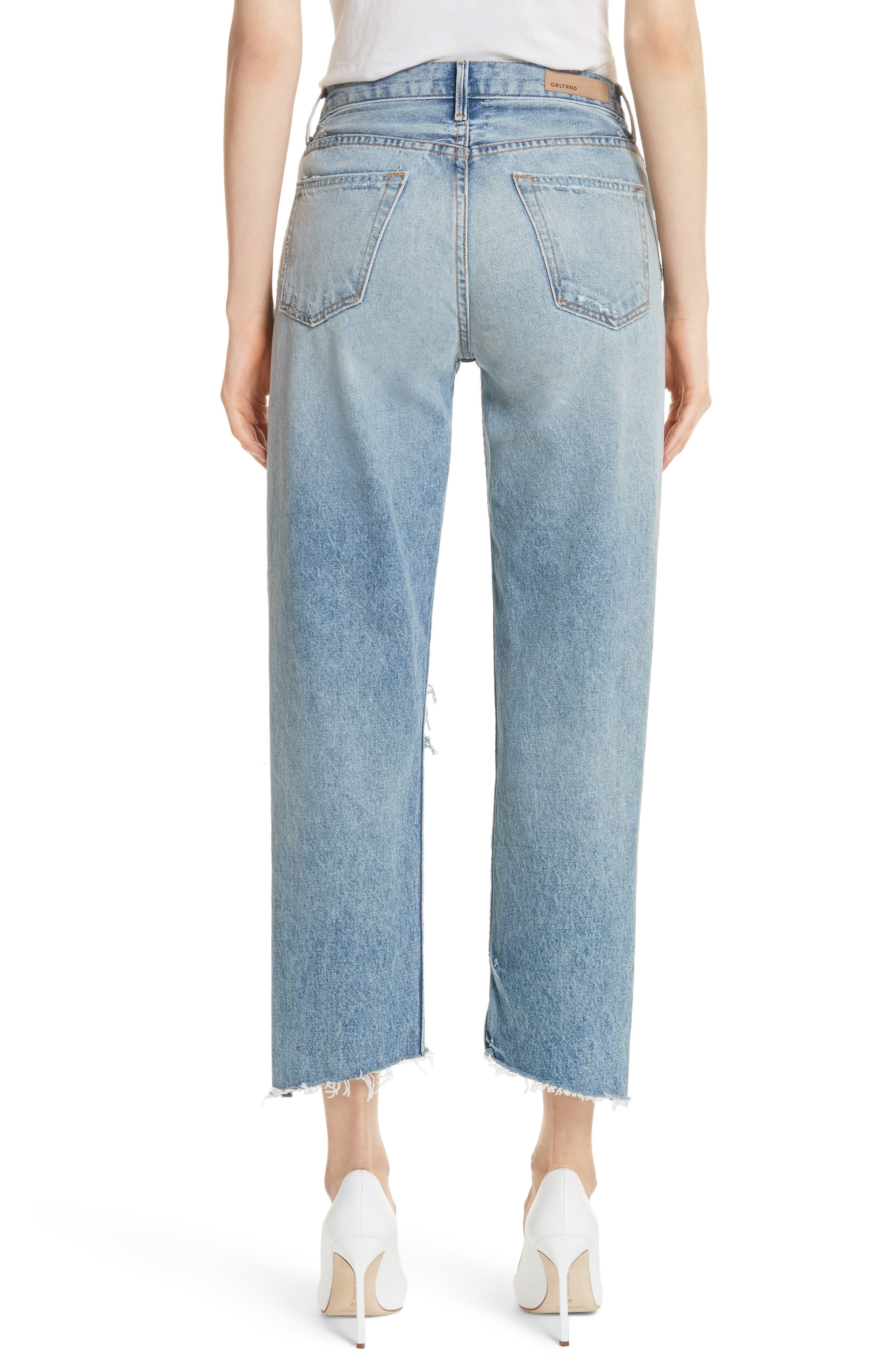 Helena Ripped Rigid High Waist Straight Jeans,                             Alternate thumbnail 2, color,                             470