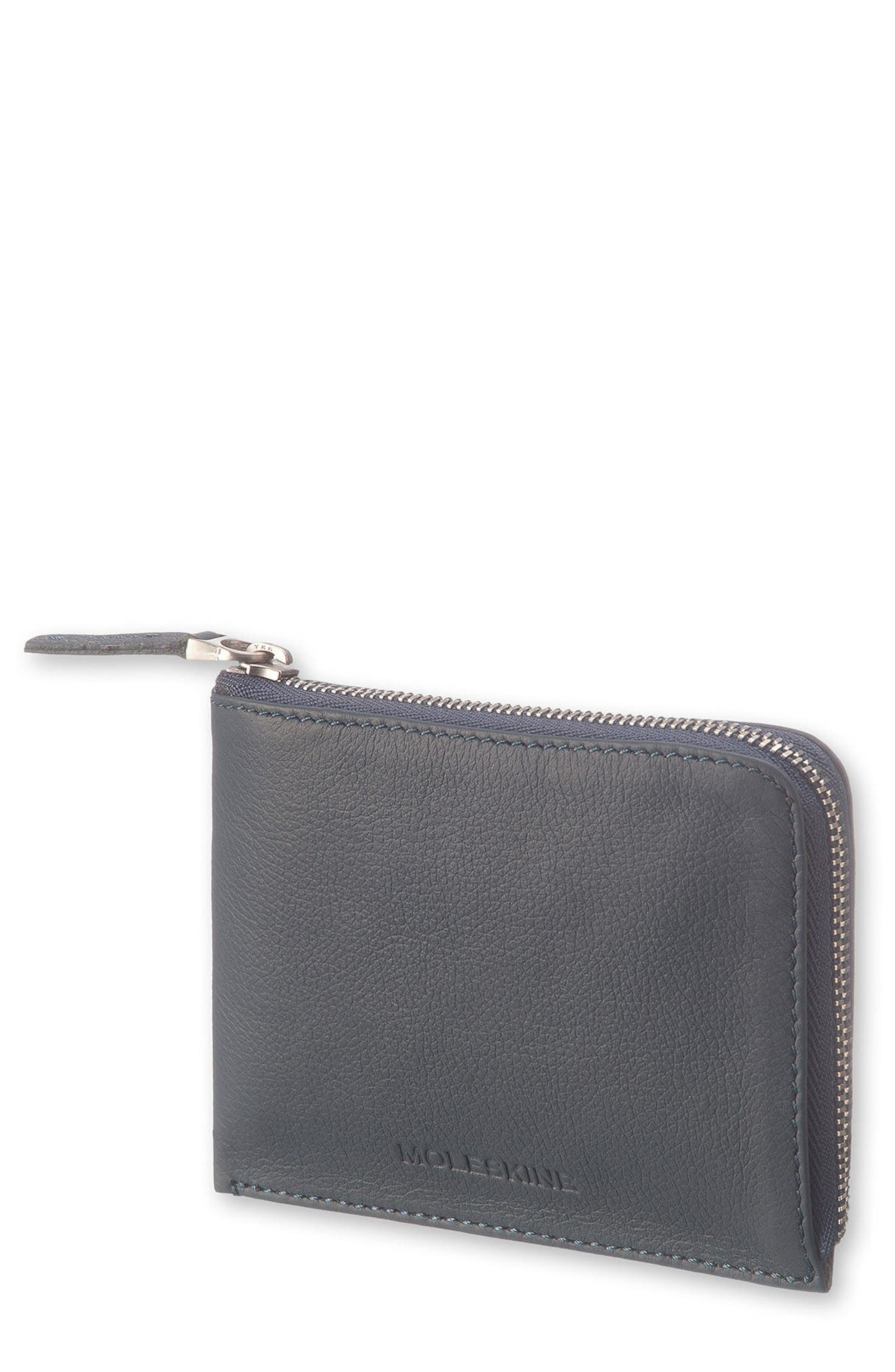 Lineage Leather Zip Wallet,                         Main,                         color, AVIO BLUE