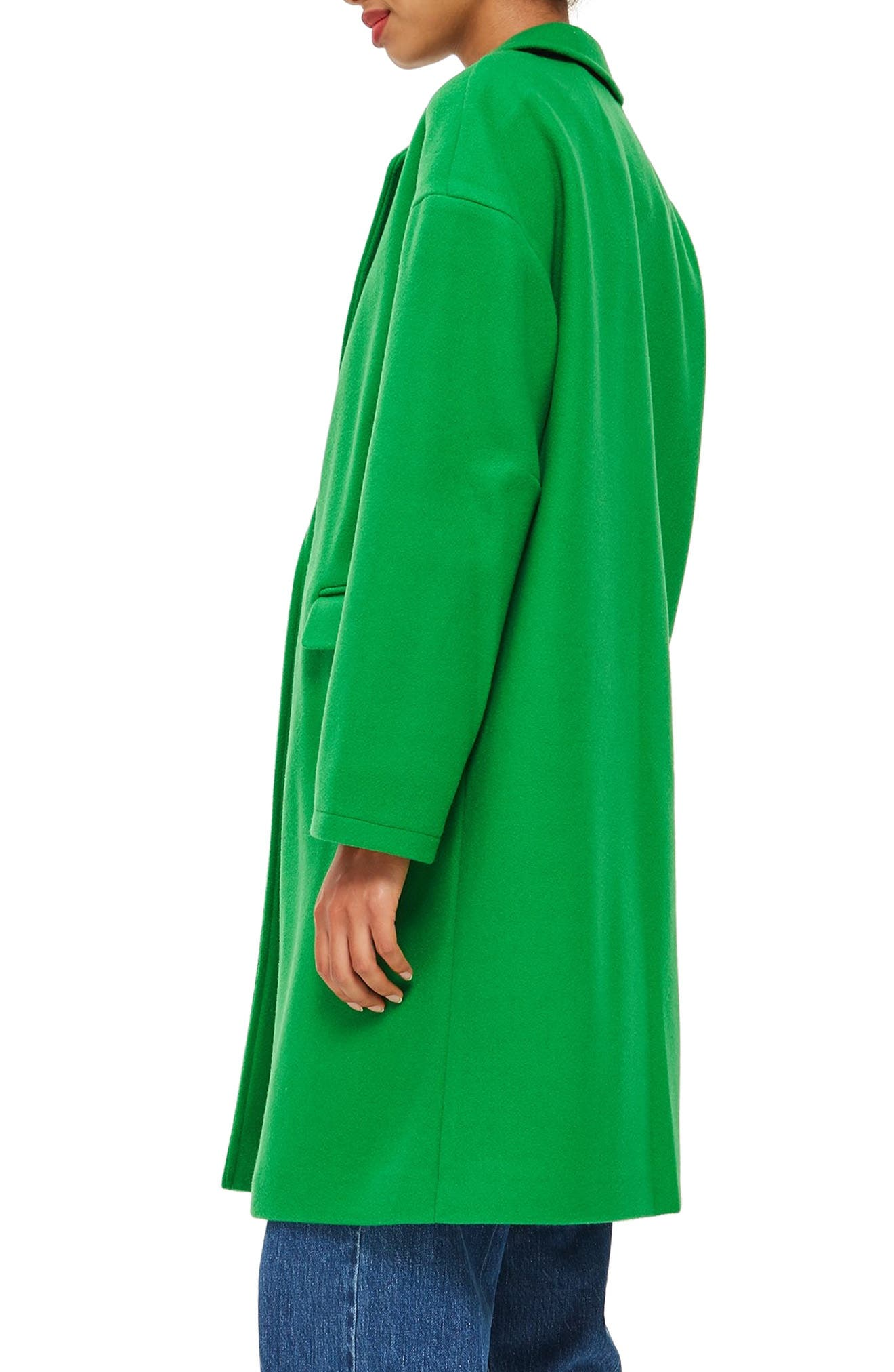 Lily Knit Back Midi Coat,                             Alternate thumbnail 3, color,                             BRIGHT GREEN