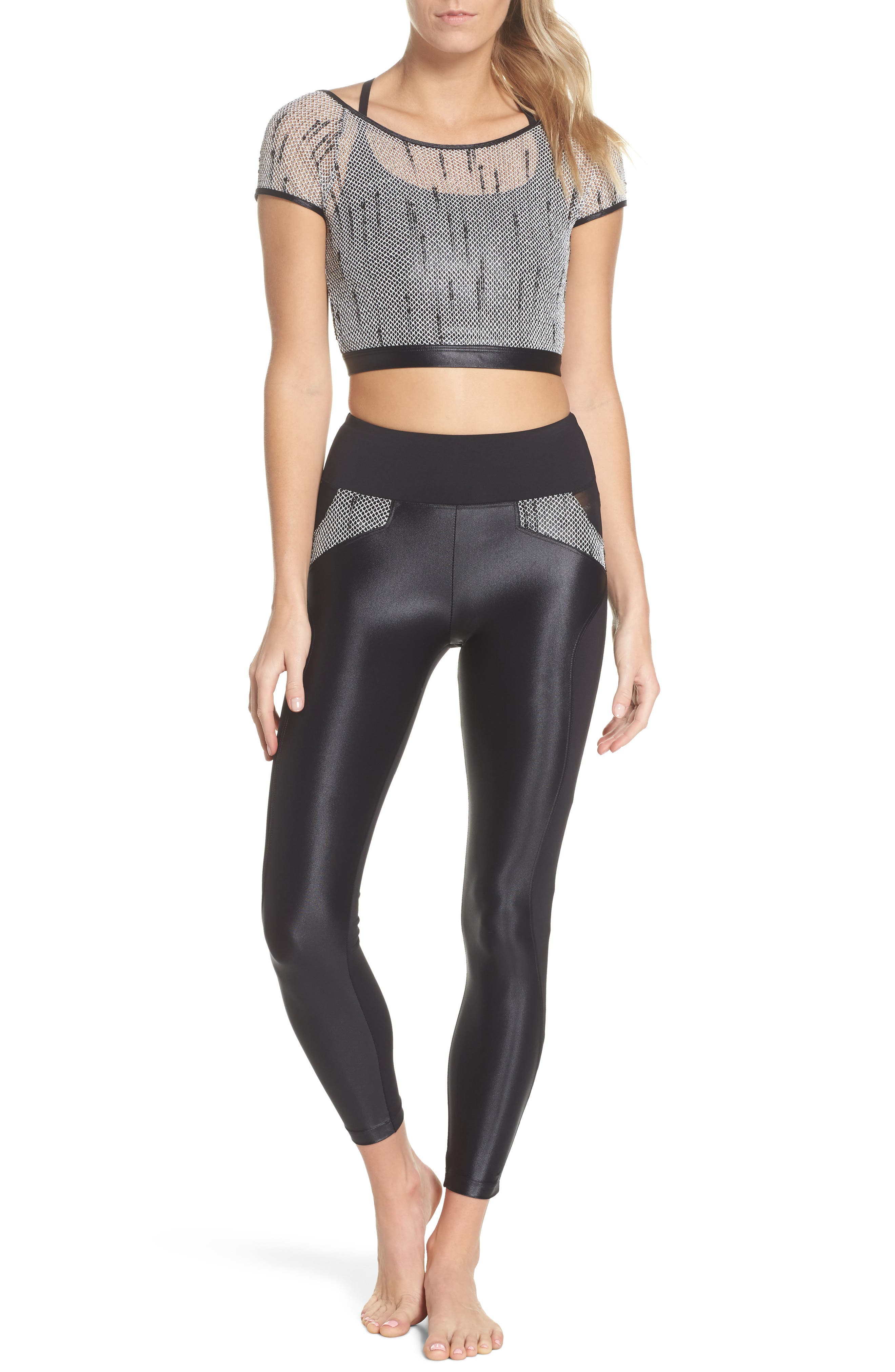 Waves High Waist Leggings,                             Alternate thumbnail 8, color,                             001