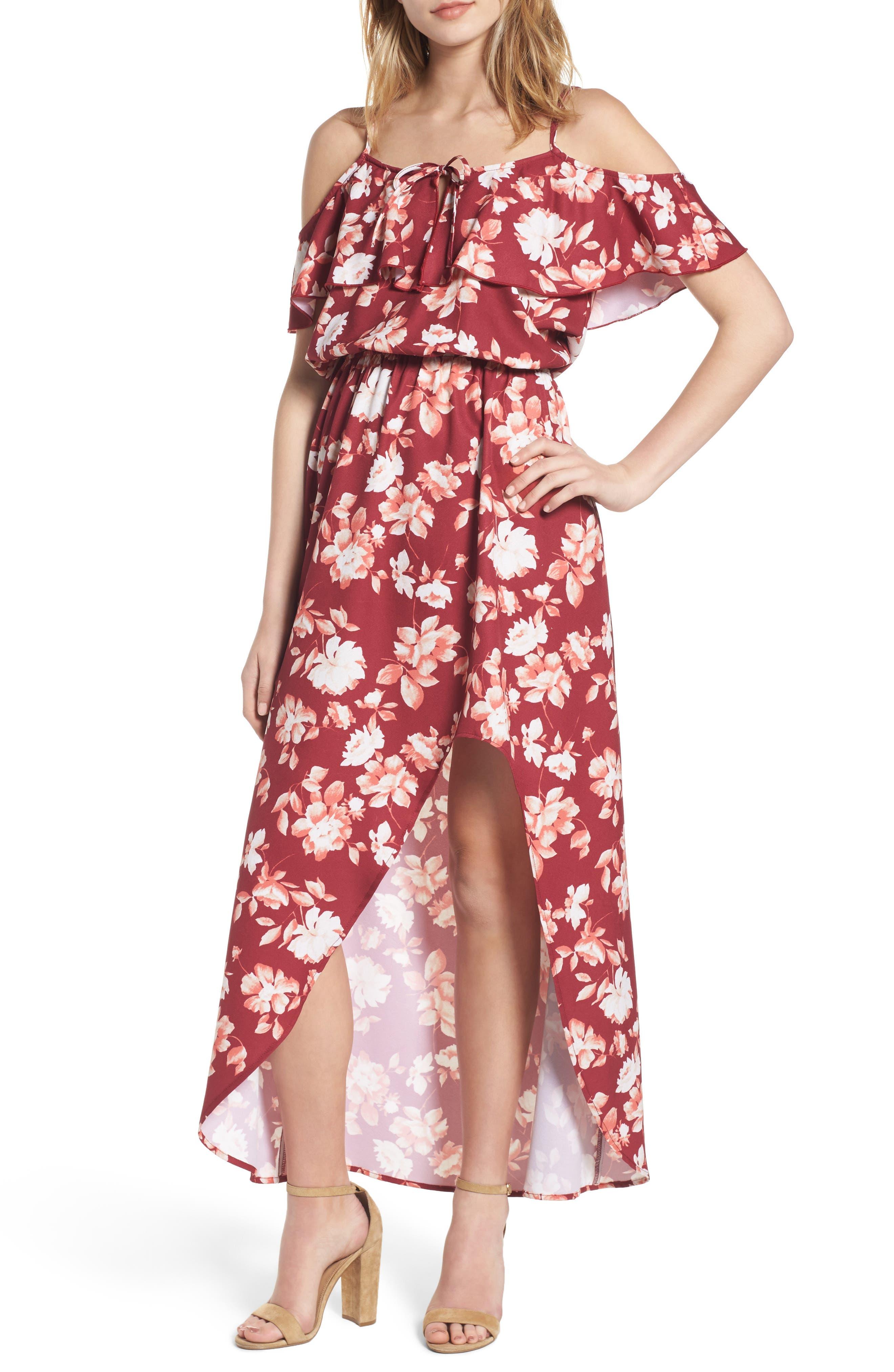 Cold Shoulder Asymmetrical Maxi Dress,                             Main thumbnail 2, color,