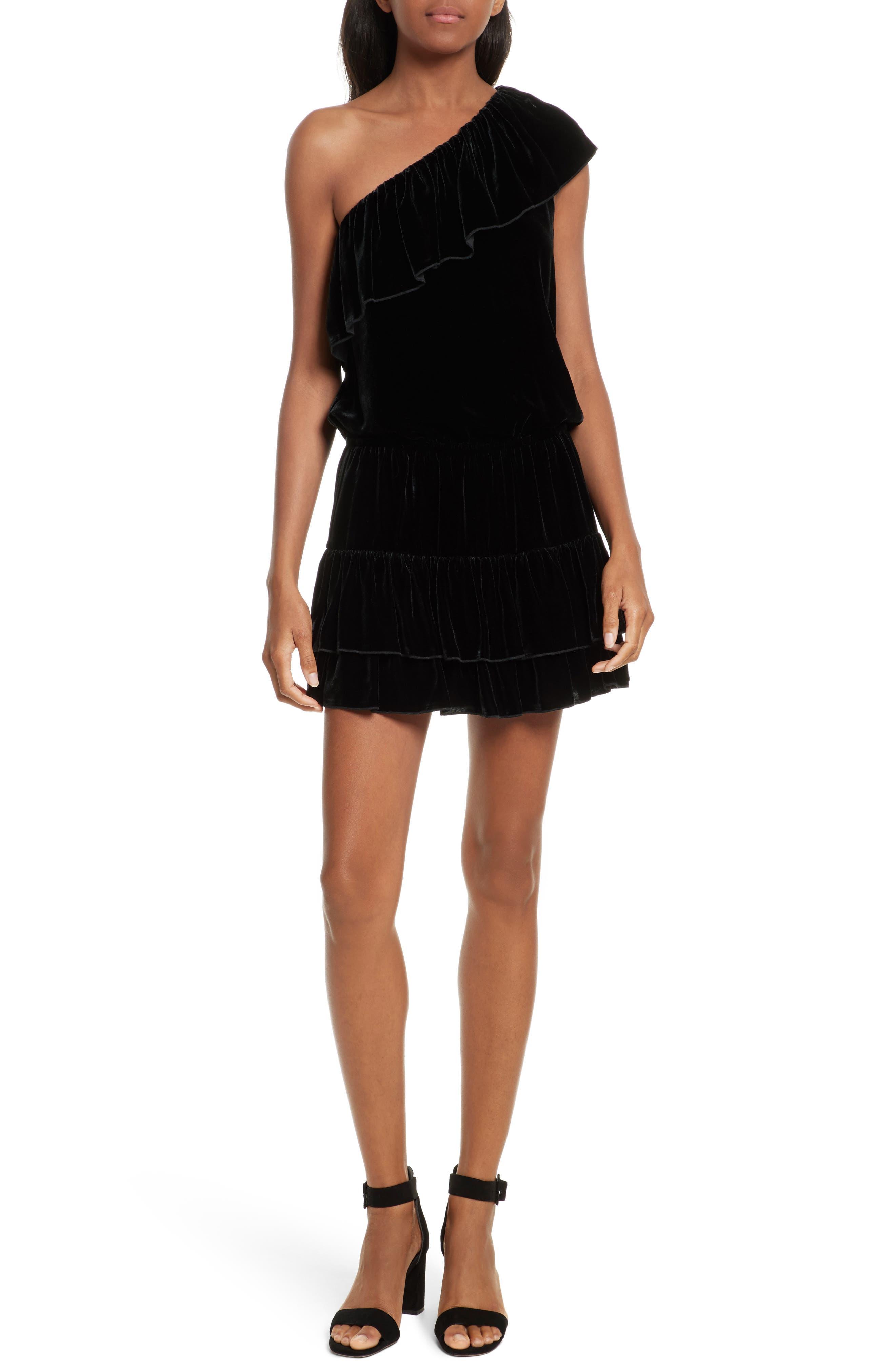 Kolda B One-Shoulder Velvet Dress,                             Main thumbnail 1, color,                             002