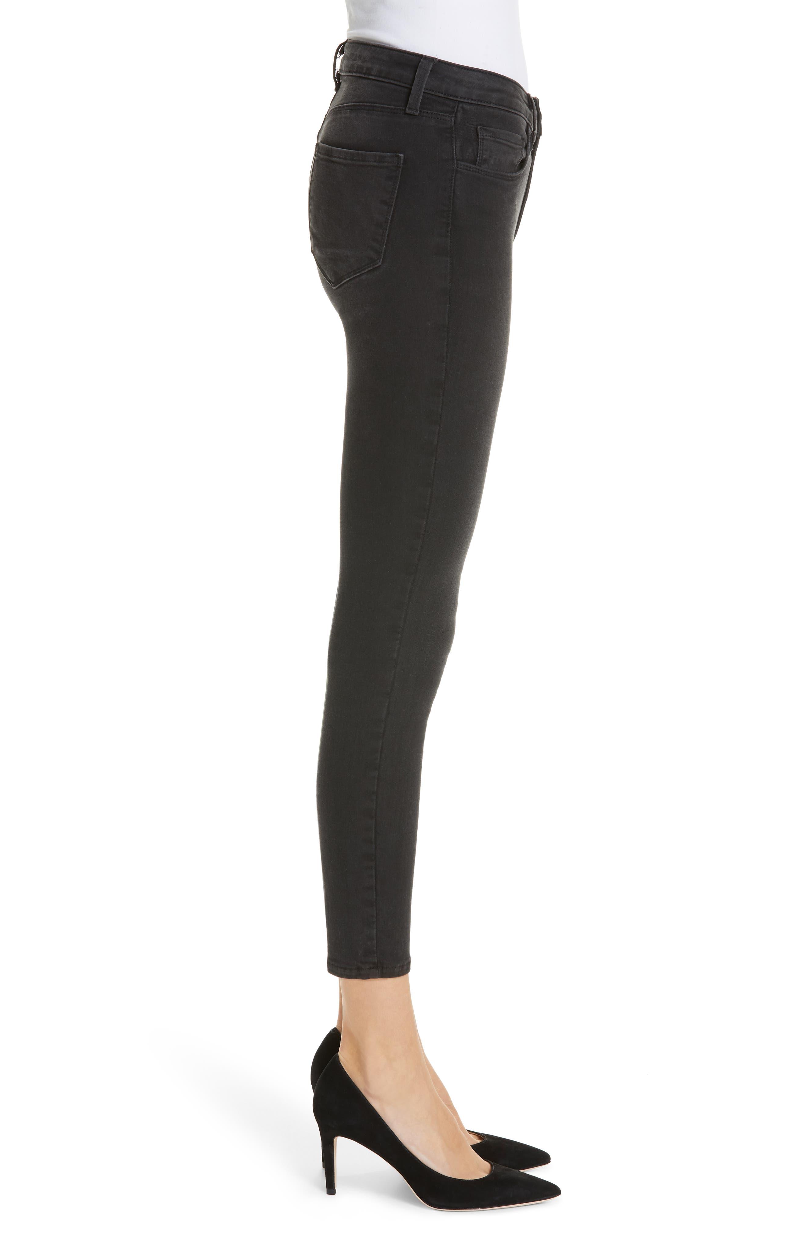 Margot Crop Skinny Jeans,                             Alternate thumbnail 3, color,                             DARK GRAPHITE