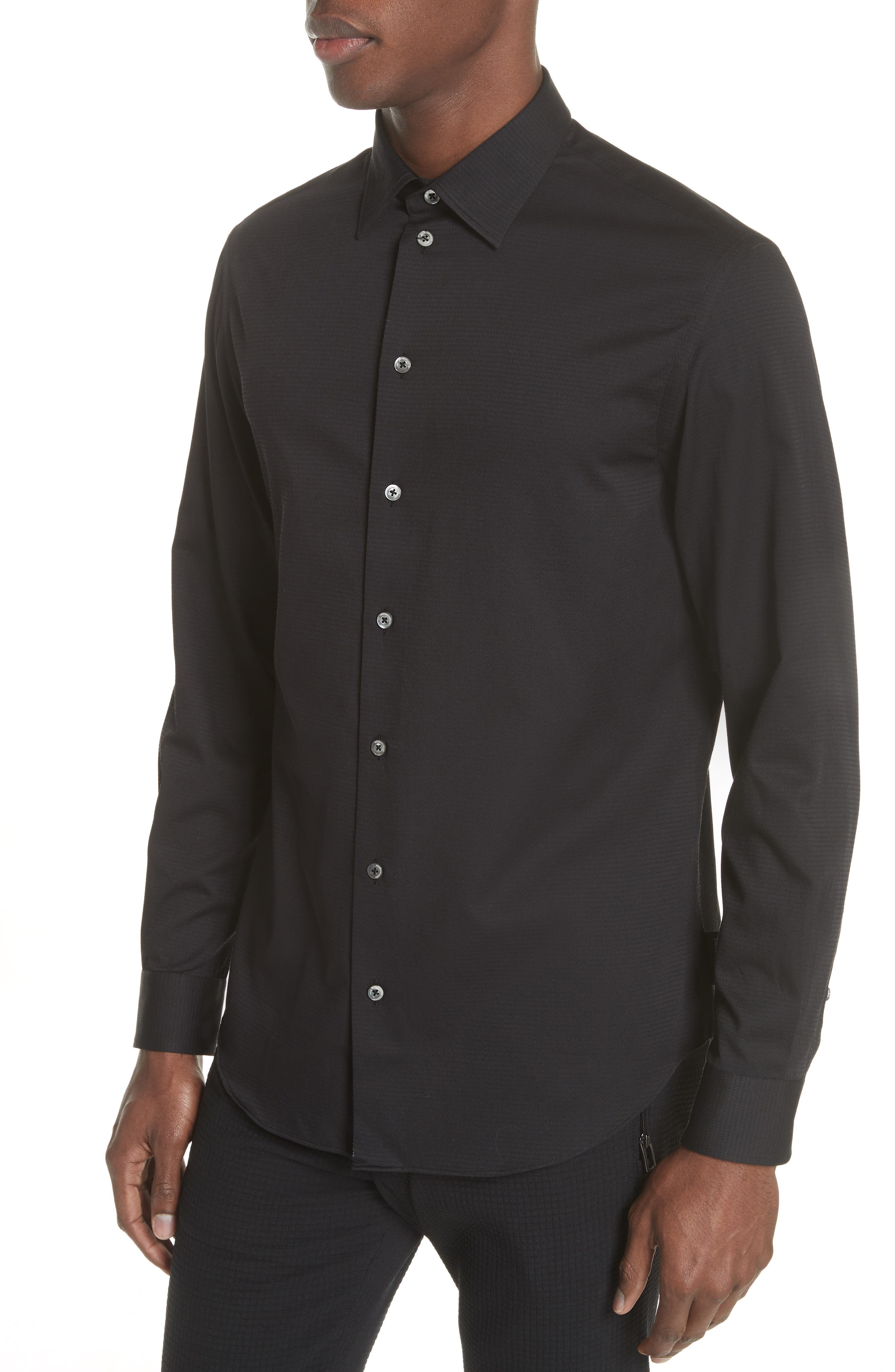 Slim Fit Solid Sport Shirt,                             Alternate thumbnail 4, color,                             ARMANI
