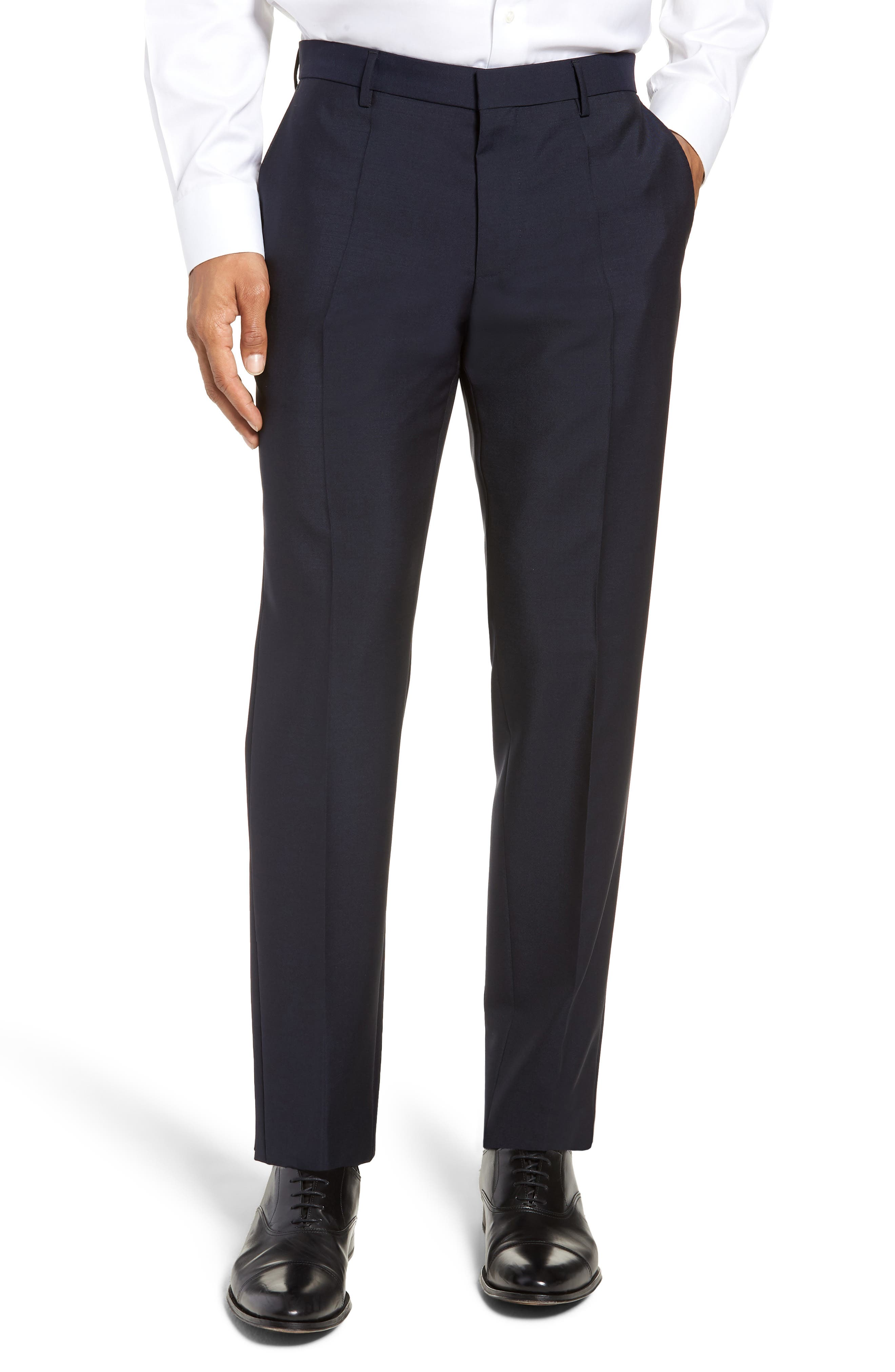 x Nordstrom Ben Flat Front Solid Wool & Mohair Trousers,                             Main thumbnail 1, color,                             DARK BLUE