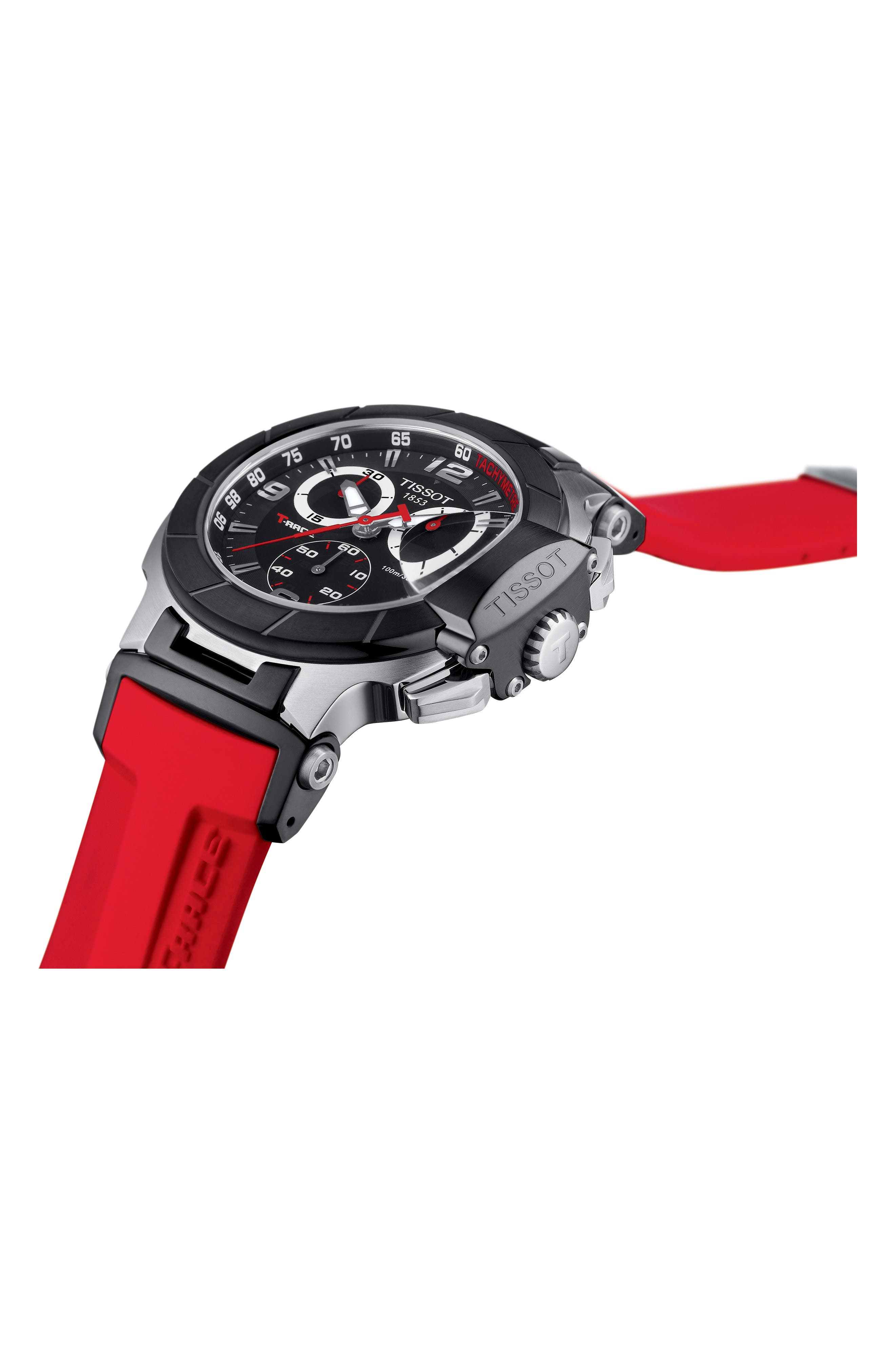 T-Race Chronograph Silicone Strap Watch, 50mm,                             Alternate thumbnail 3, color,                             RED/ BLACK/ SILVER