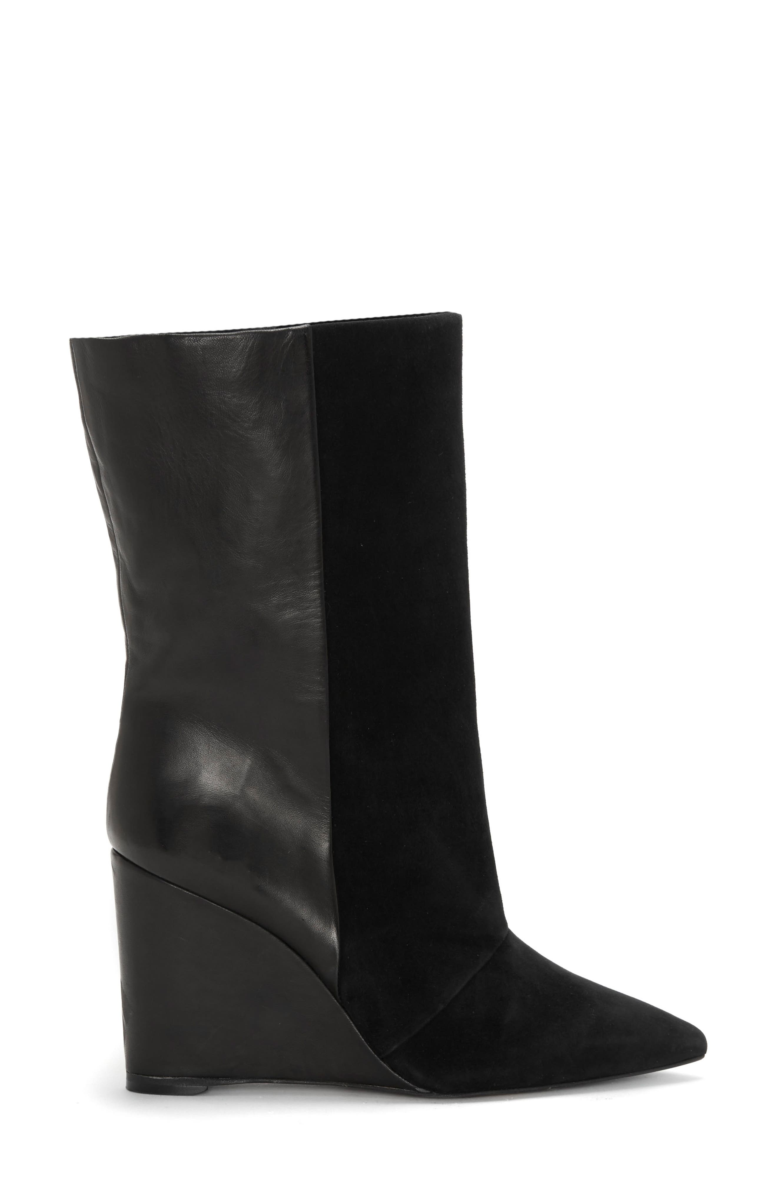 Zalena Wedge Boot,                             Alternate thumbnail 3, color,                             BLACK SUEDE