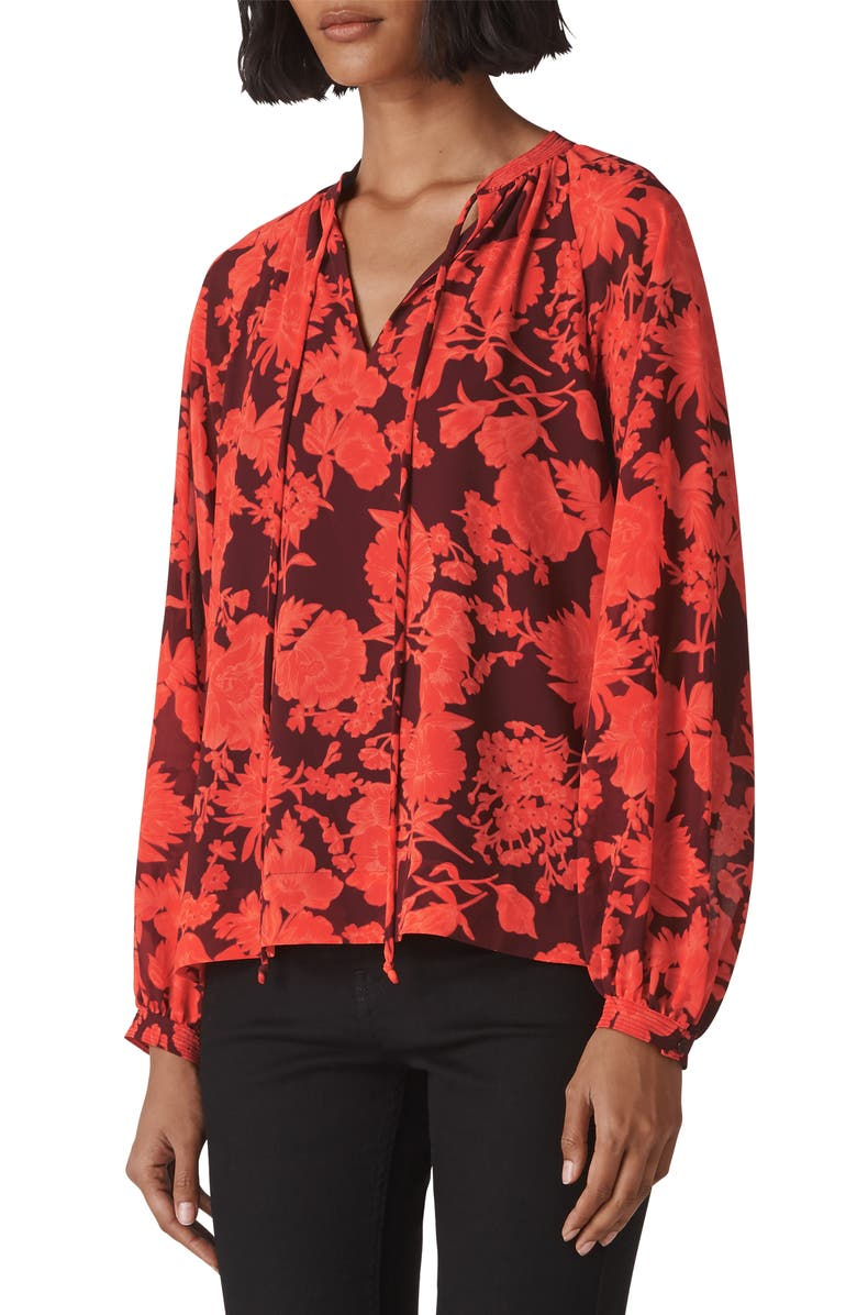 Whistles TIE NECK FLORAL BLOUSE