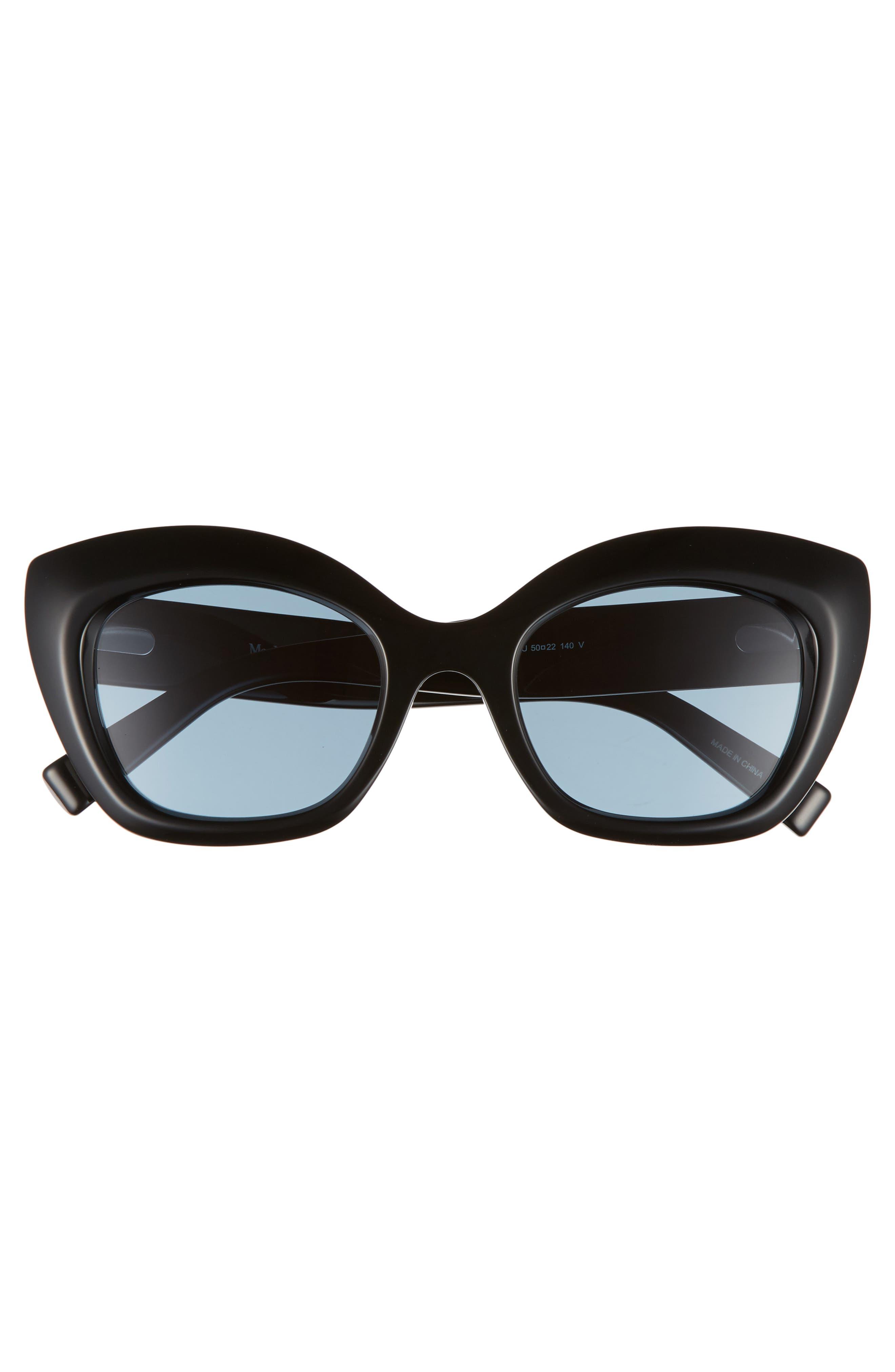Prism VII 50mm Gradient Cat Eye Sunglasses,                             Alternate thumbnail 3, color,                             BLACK