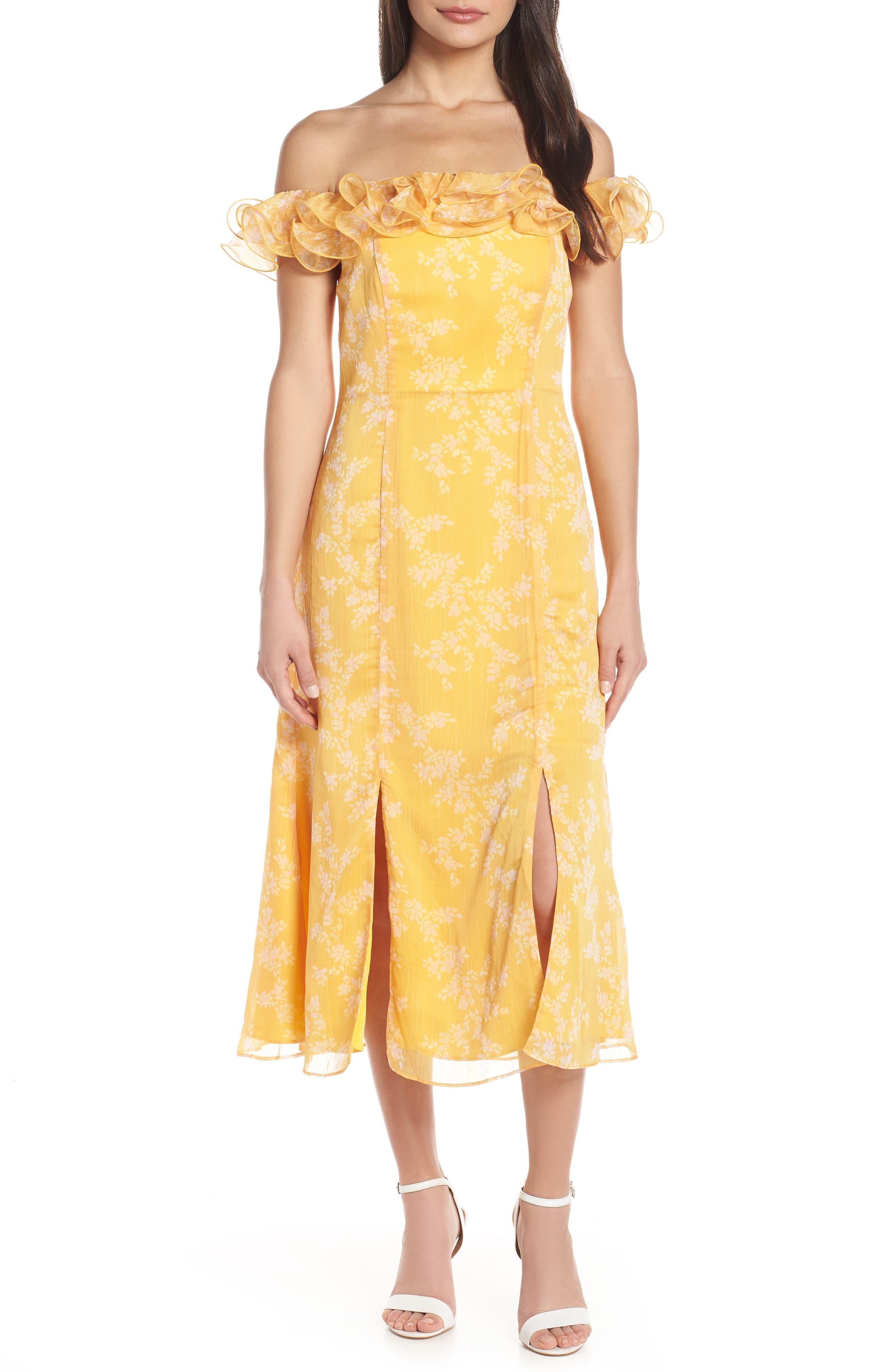 Keepsake The Label Embrace Ruffled Off The Shoulder Midi Dress, Yellow