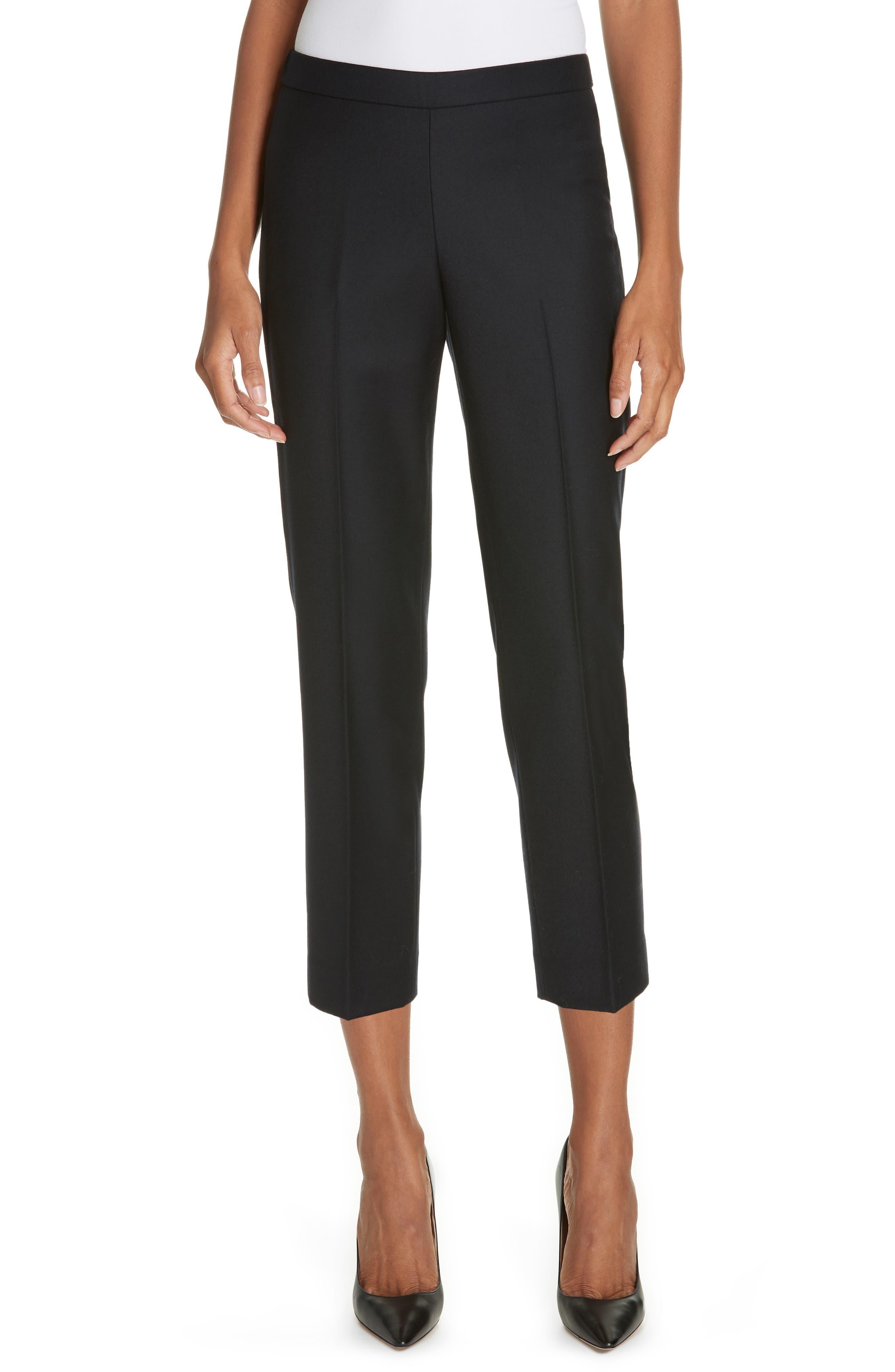 Basic Pull-On Sleek Flannel Pants in Black Ink