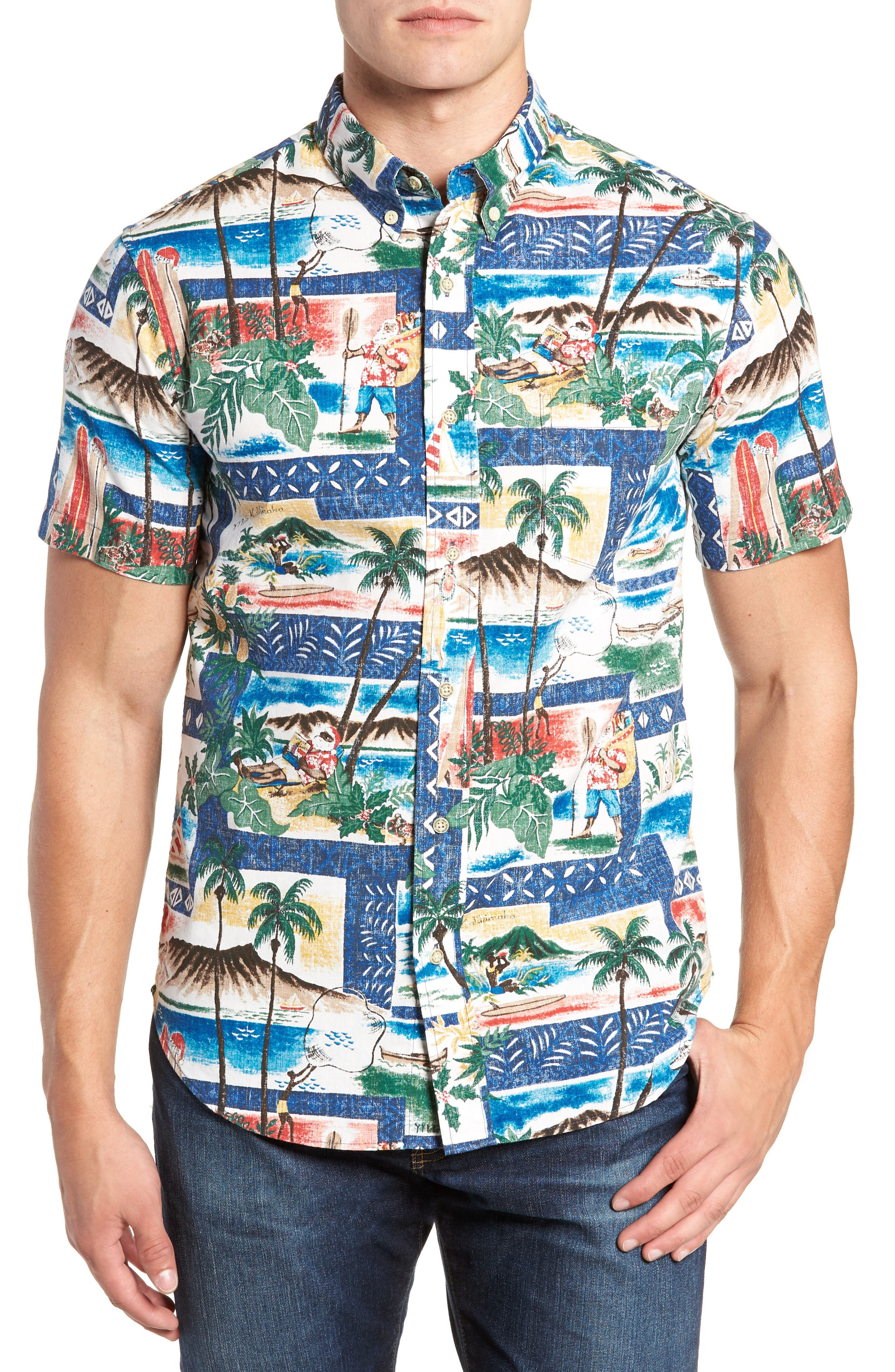 Hawaiian Christmas 2018 Tailored Fit Sport Shirt,                         Main,                         color, ROYAL