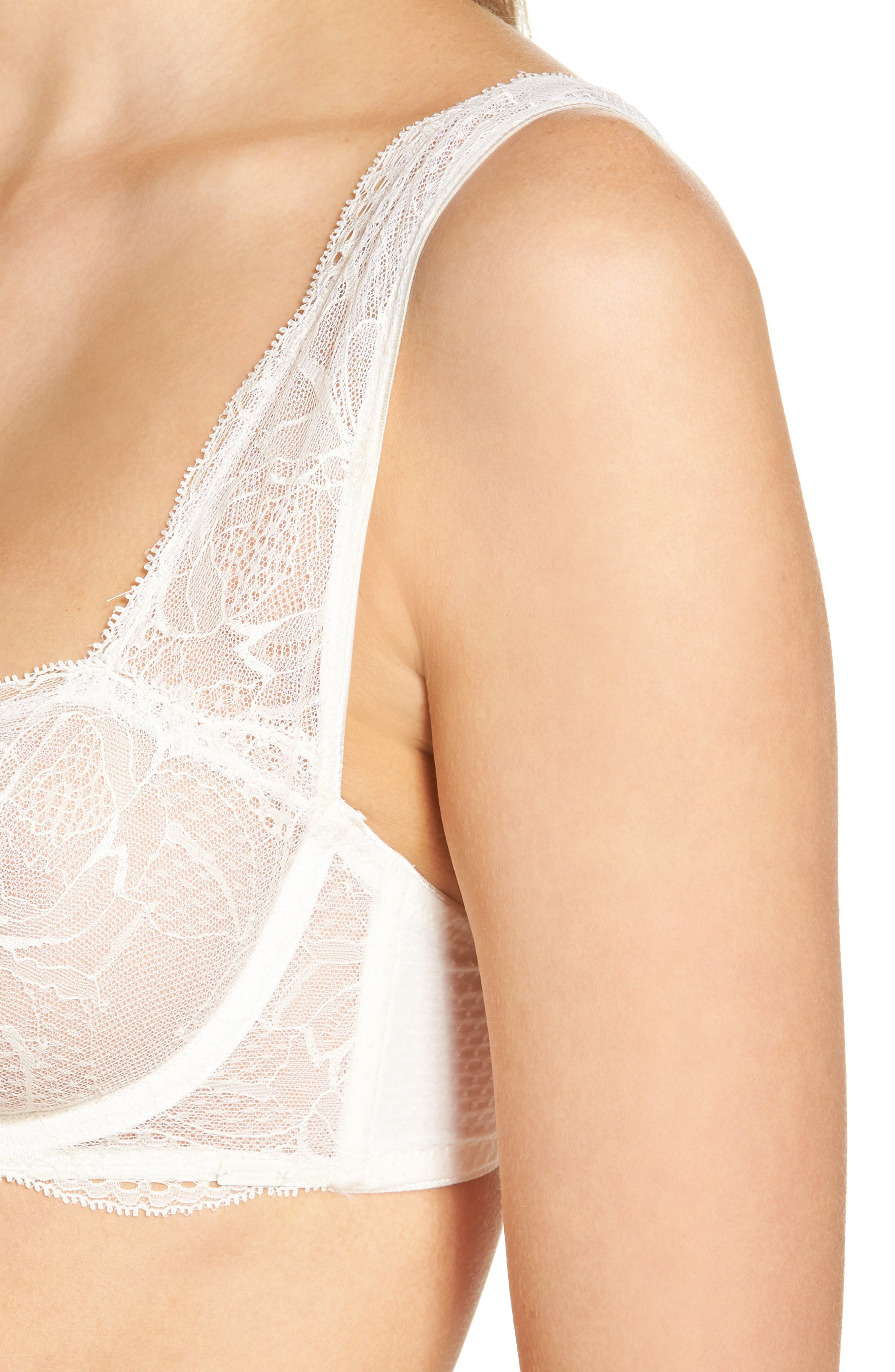 Black Rose Lace Underwire Bra,                             Alternate thumbnail 4, color,                             900