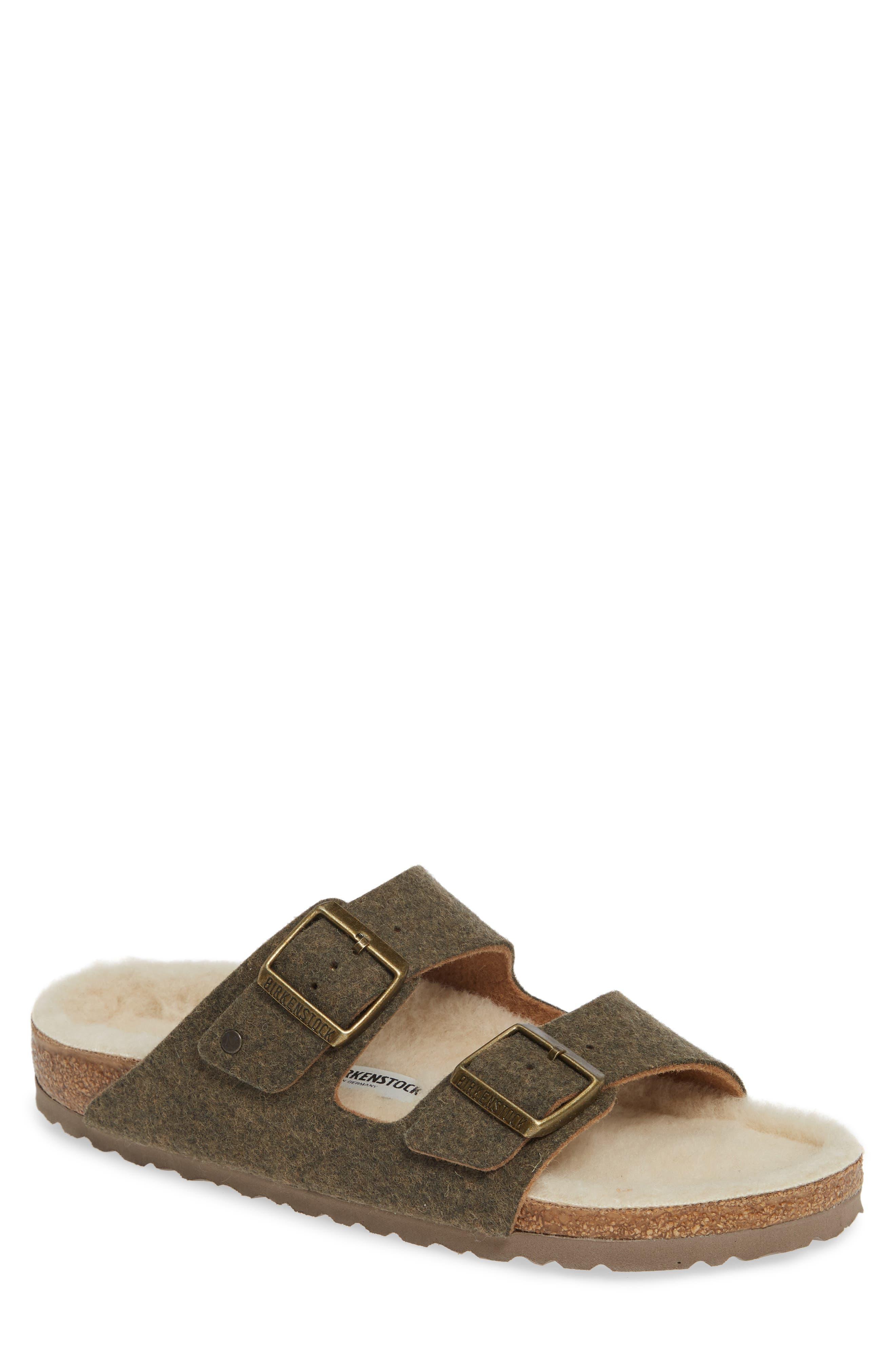 Birkenstock Arizona Slide Sandal With Faux Shearling,8.5 - Green