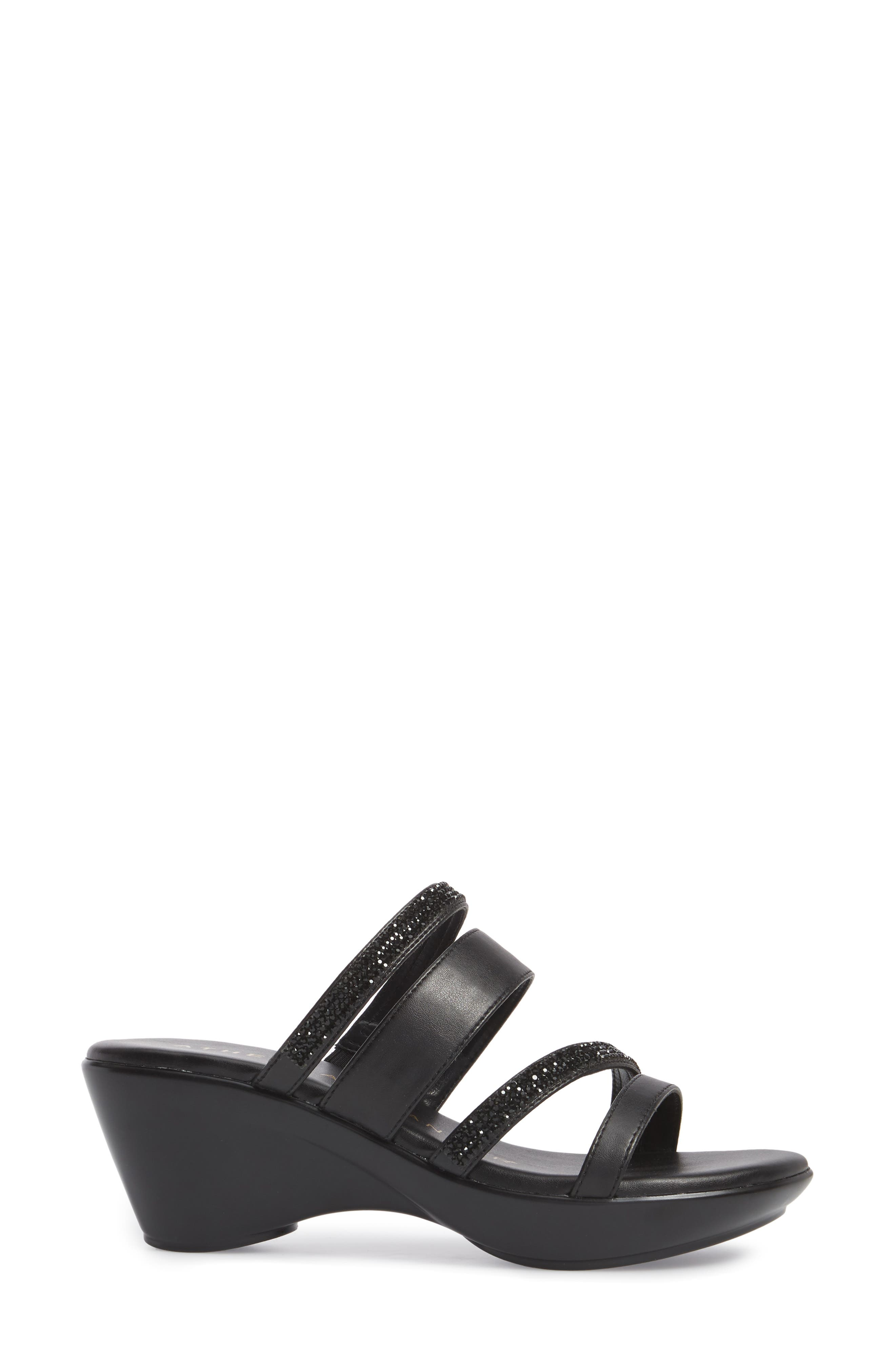Kozima Embellished Sandal,                             Alternate thumbnail 3, color,                             BLACK FABRIC