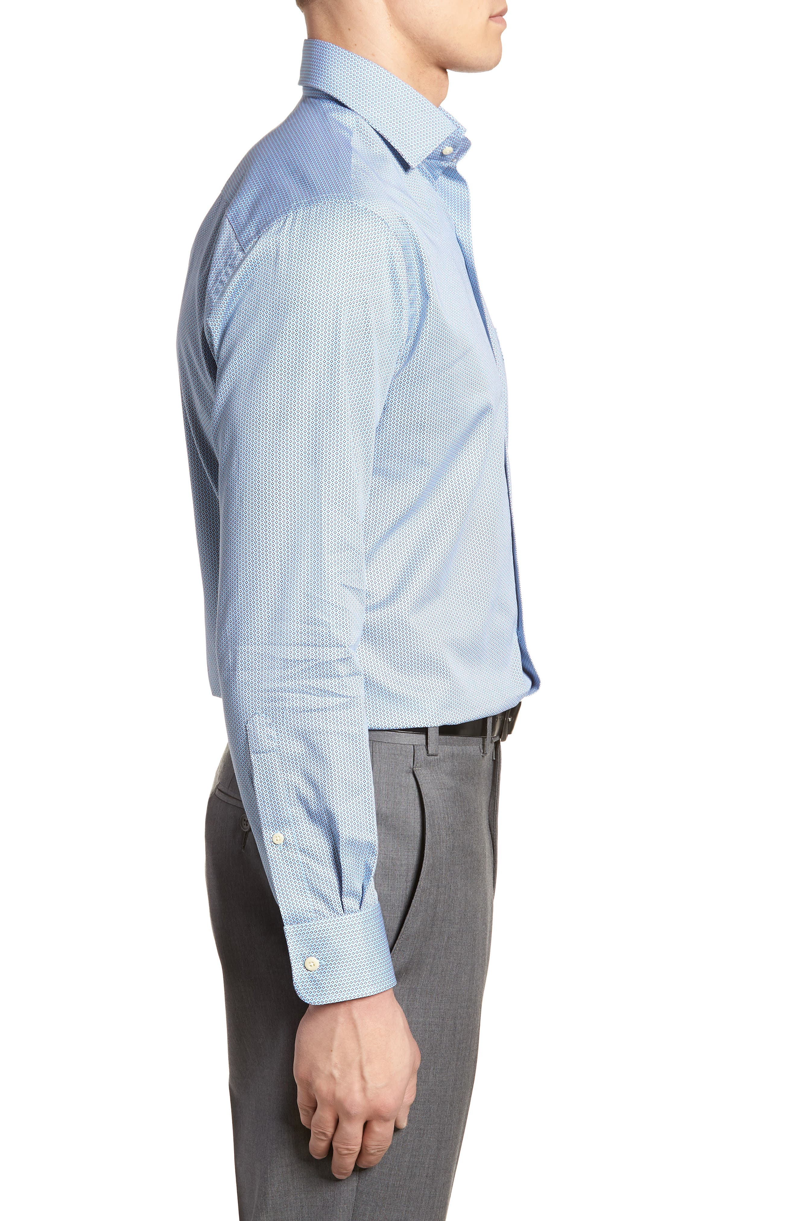 Geo Petal Sport Shirt,                             Alternate thumbnail 3, color,                             GROTTO BLUE