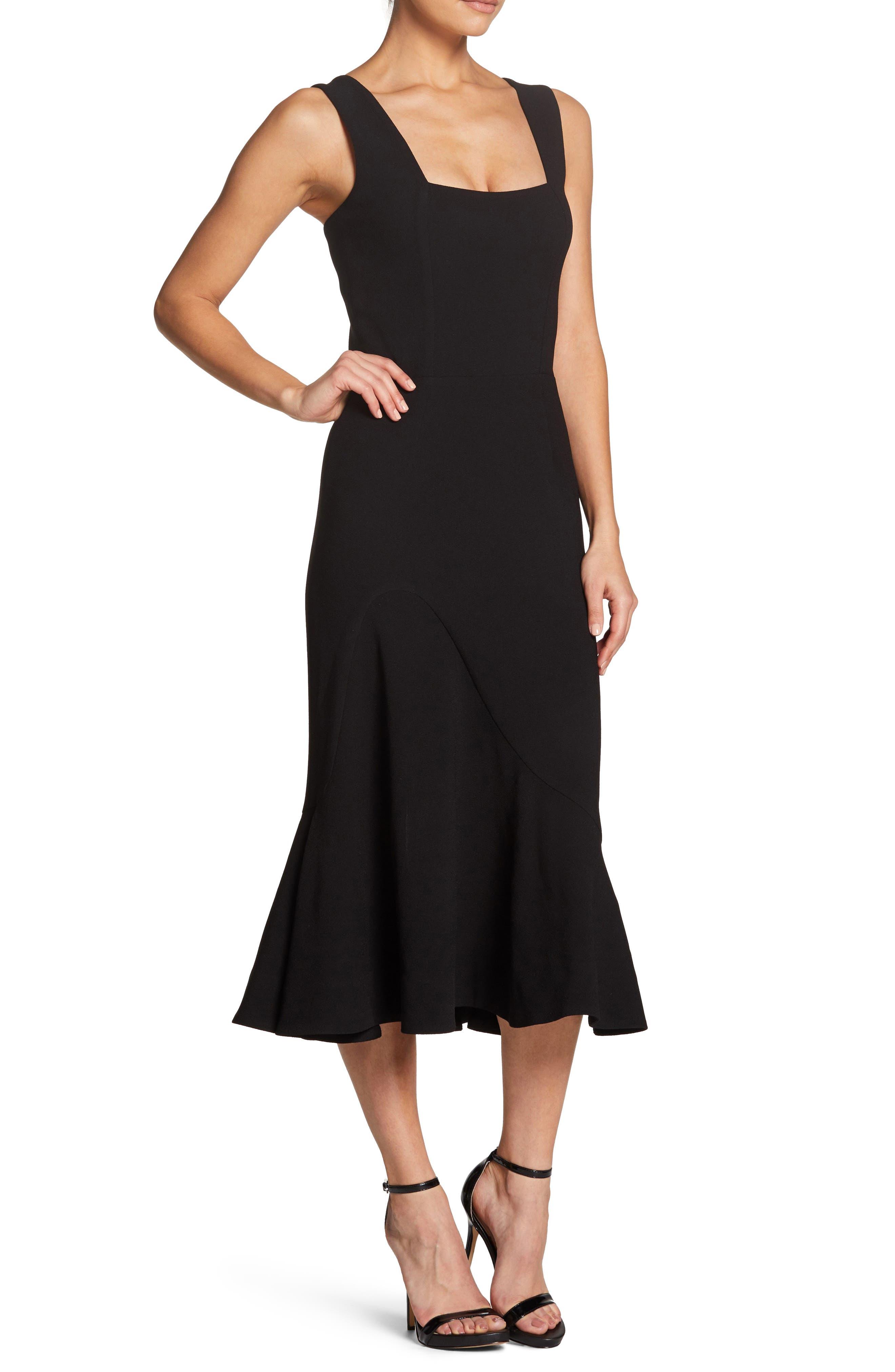 Monica Tea Length Trumpet Dress,                             Alternate thumbnail 3, color,                             BLACK
