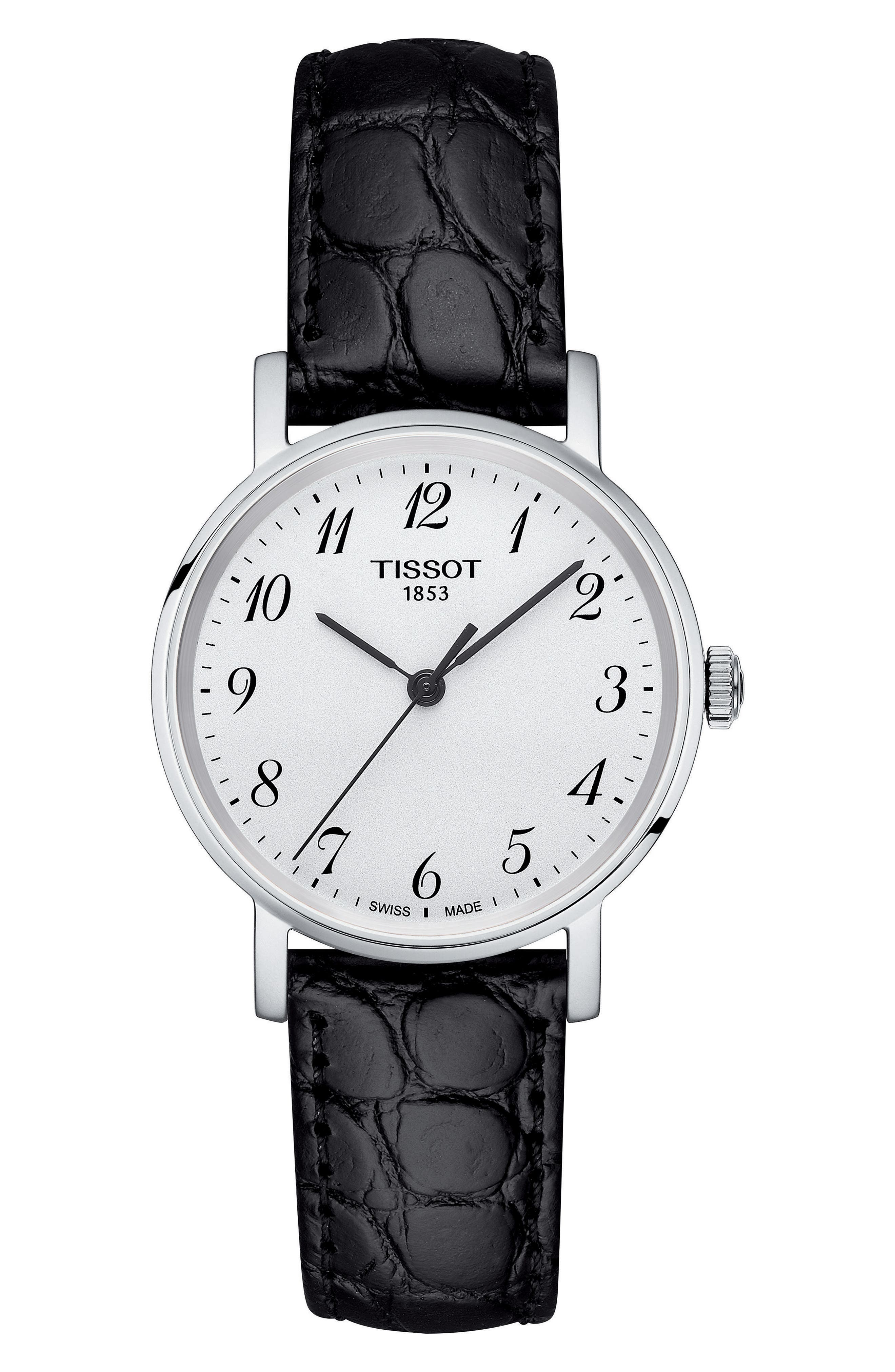 TISSOT,                             Everytime Leather Strap Watch, 30mm,                             Main thumbnail 1, color,                             BLACK/ SILVER