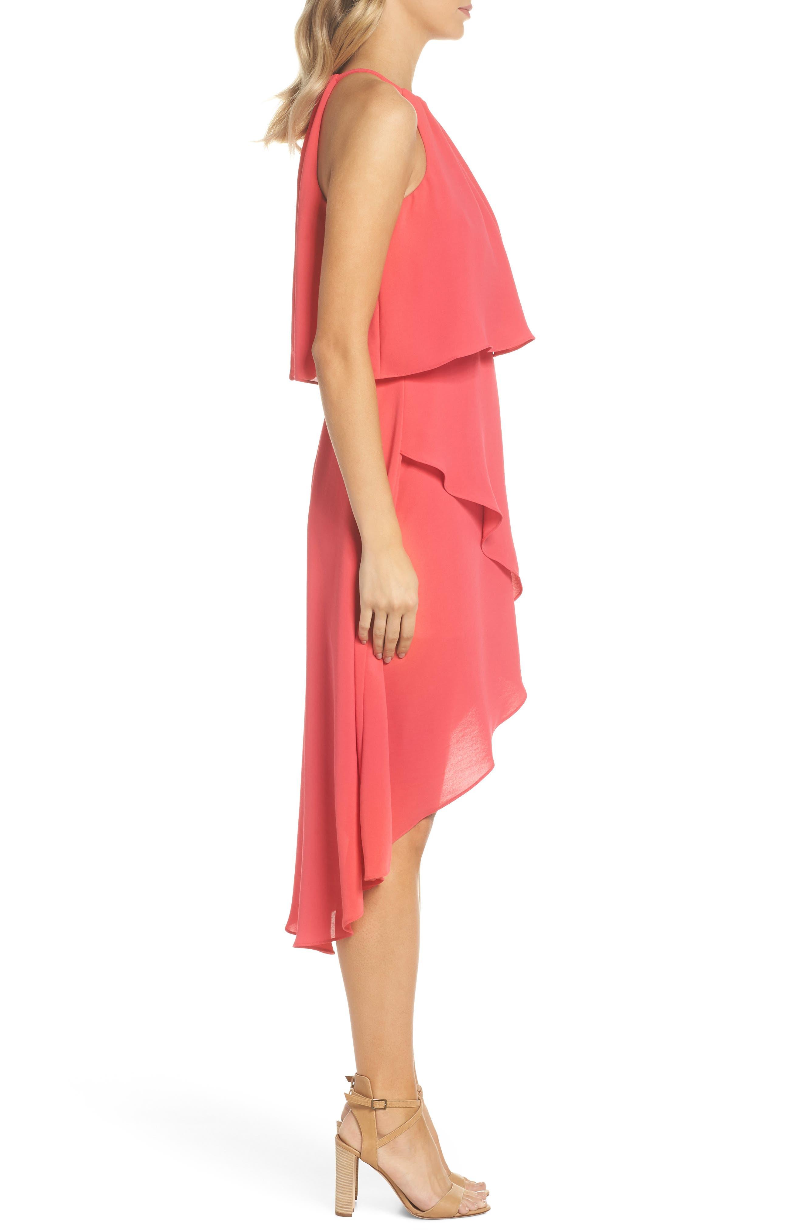 Crepe Popover High/Low Dress,                             Alternate thumbnail 3, color,                             654