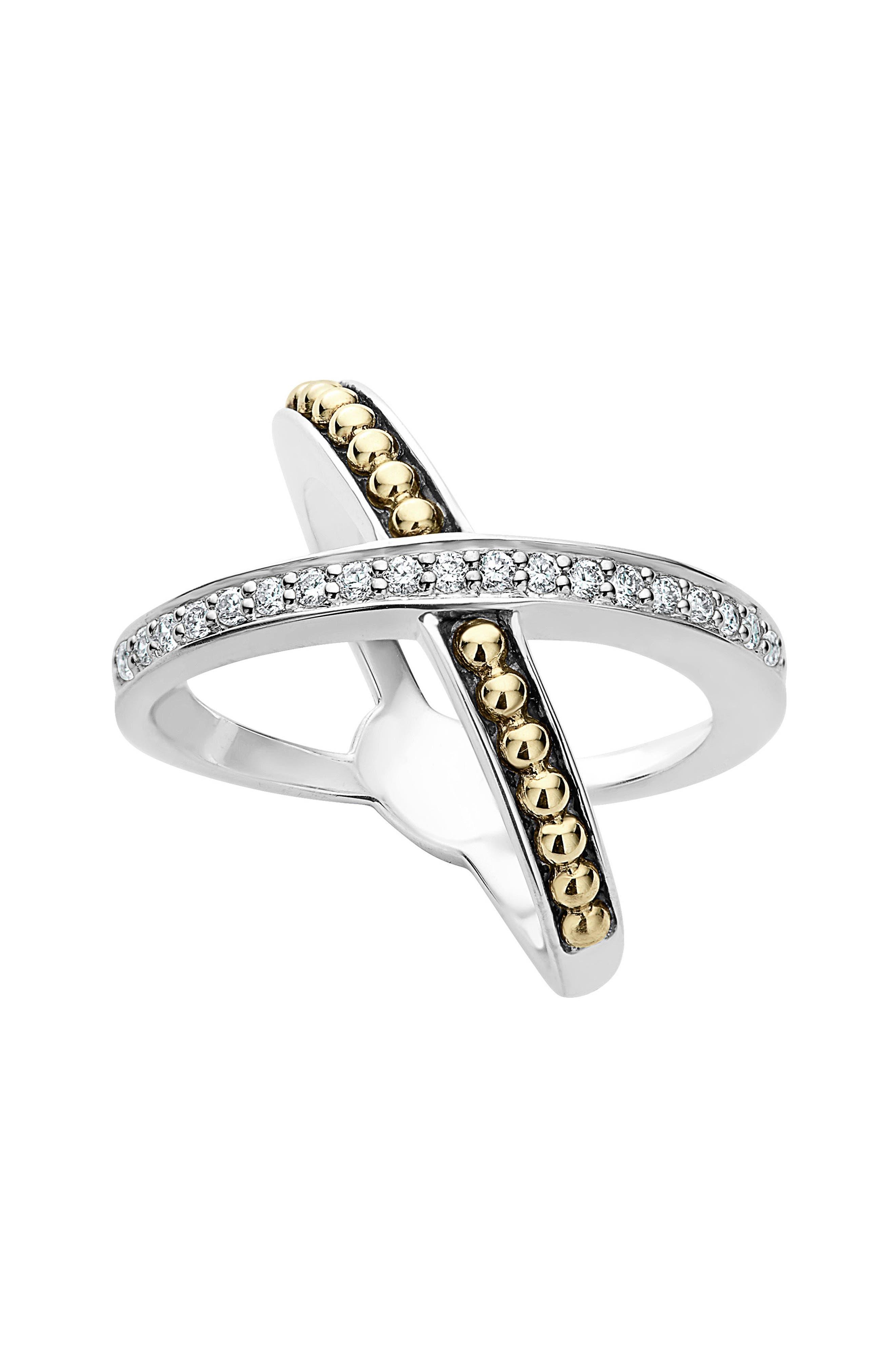 KSL Diamond Pavé Crossover Ring,                             Main thumbnail 1, color,                             SILVER/ GOLD/ DIAMOND