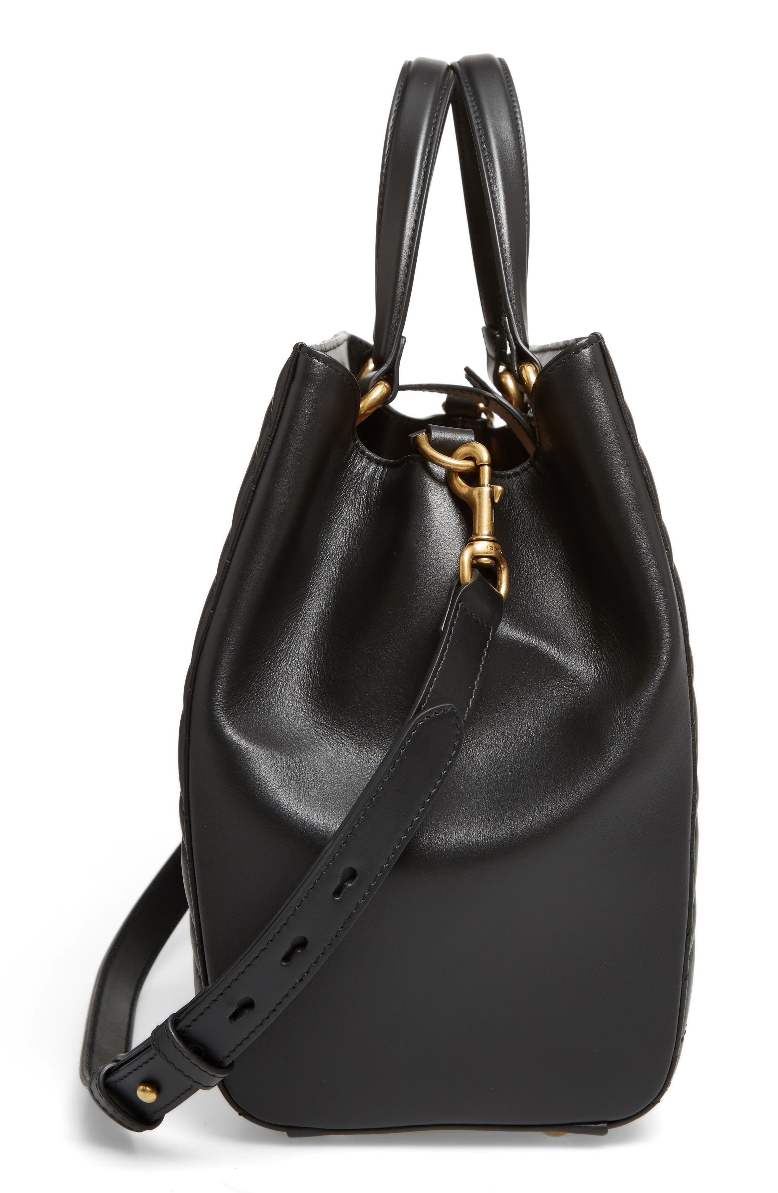 GG Marmont Medium Matelassé Leather Top Handle Shoulder Bag,                             Alternate thumbnail 5, color,                             005
