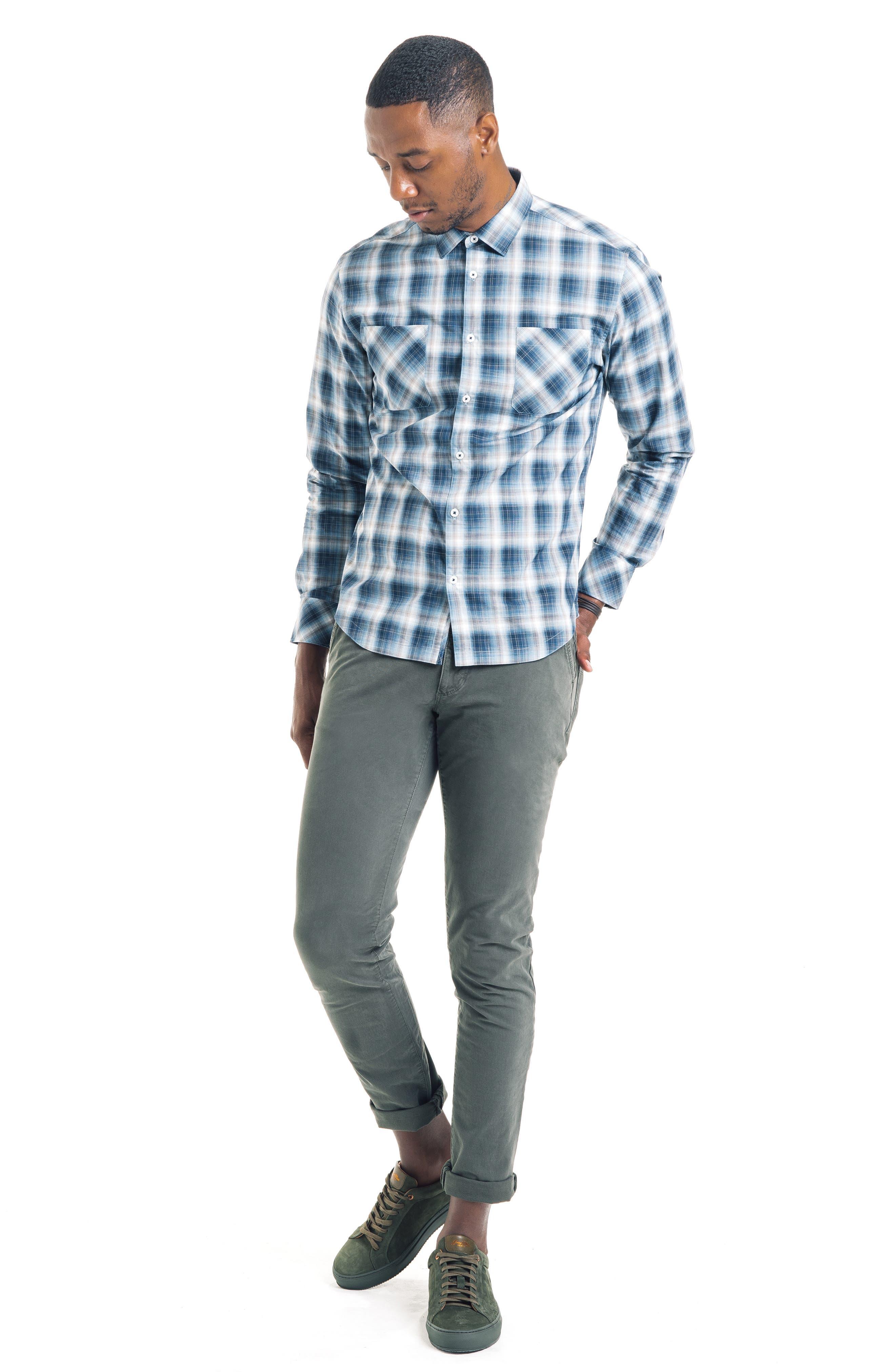 Shadow Slim Fit Plaid Sport Shirt,                             Alternate thumbnail 5, color,                             410