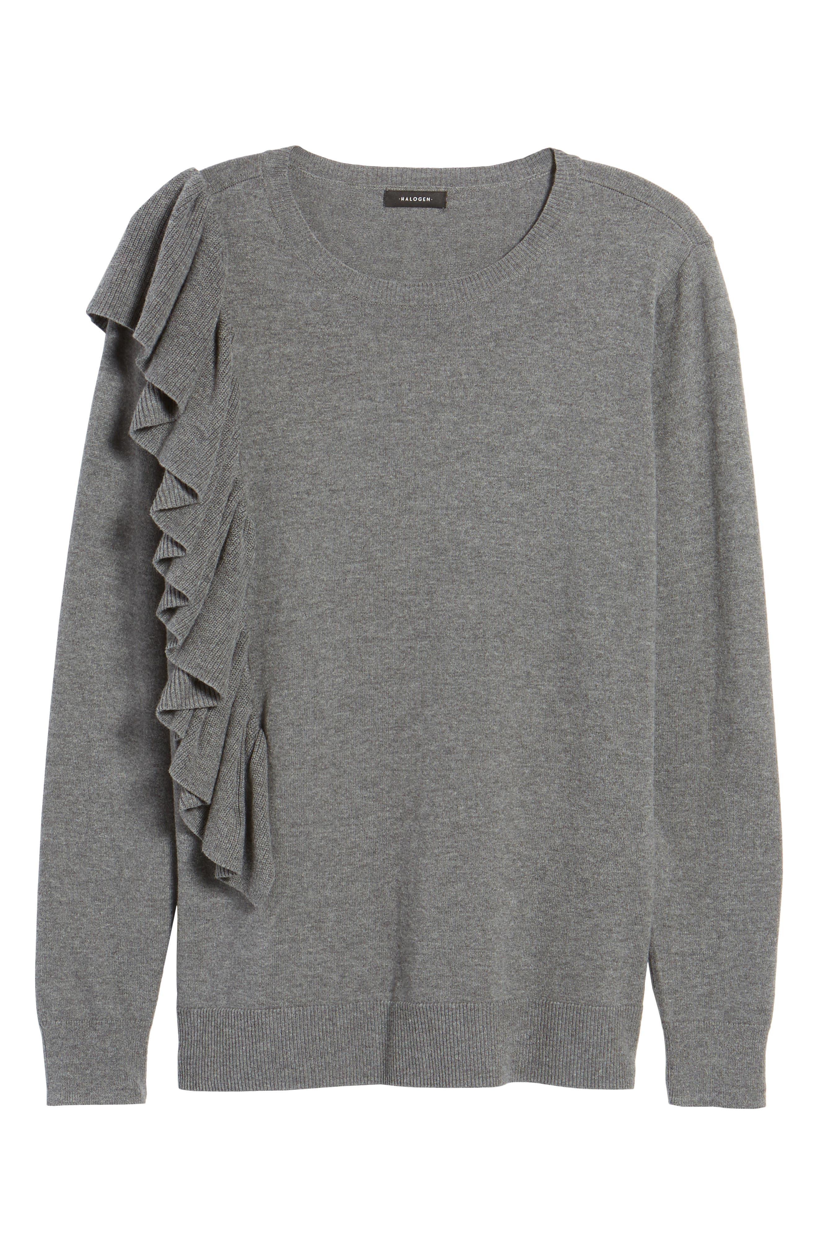 Asymmetrical Ruffle Sweater,                             Alternate thumbnail 6, color,                             030