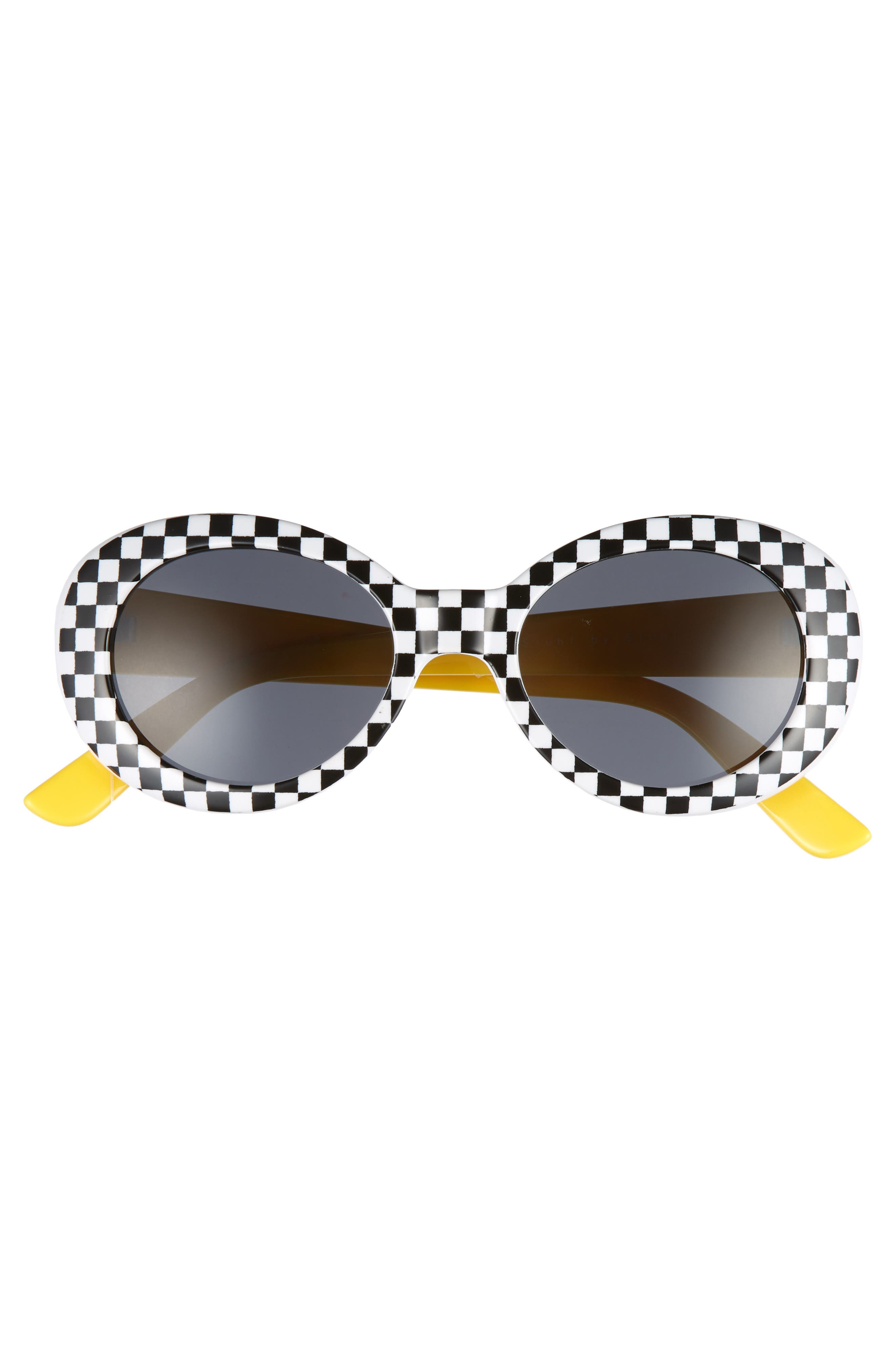 55mm Check Round Sunglasses,                             Alternate thumbnail 3, color,                             001