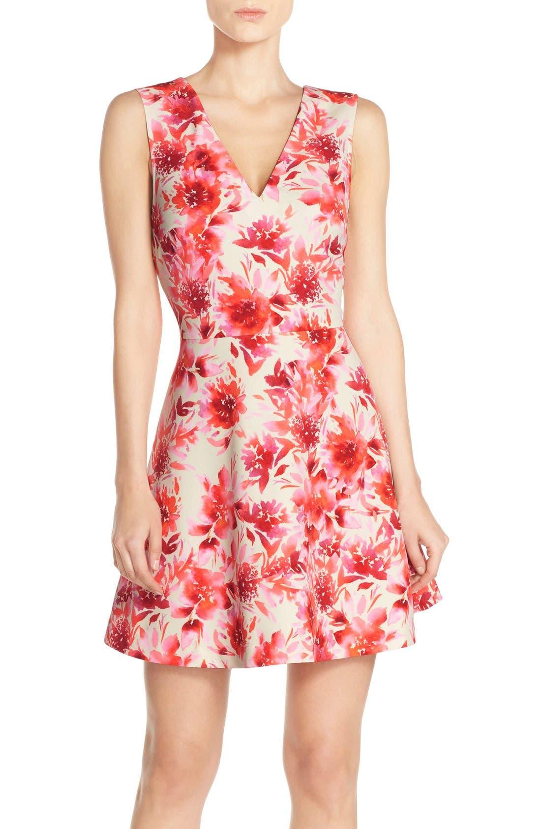 Bianca Back Cutout Fit & Flare Dress,                             Main thumbnail 13, color,