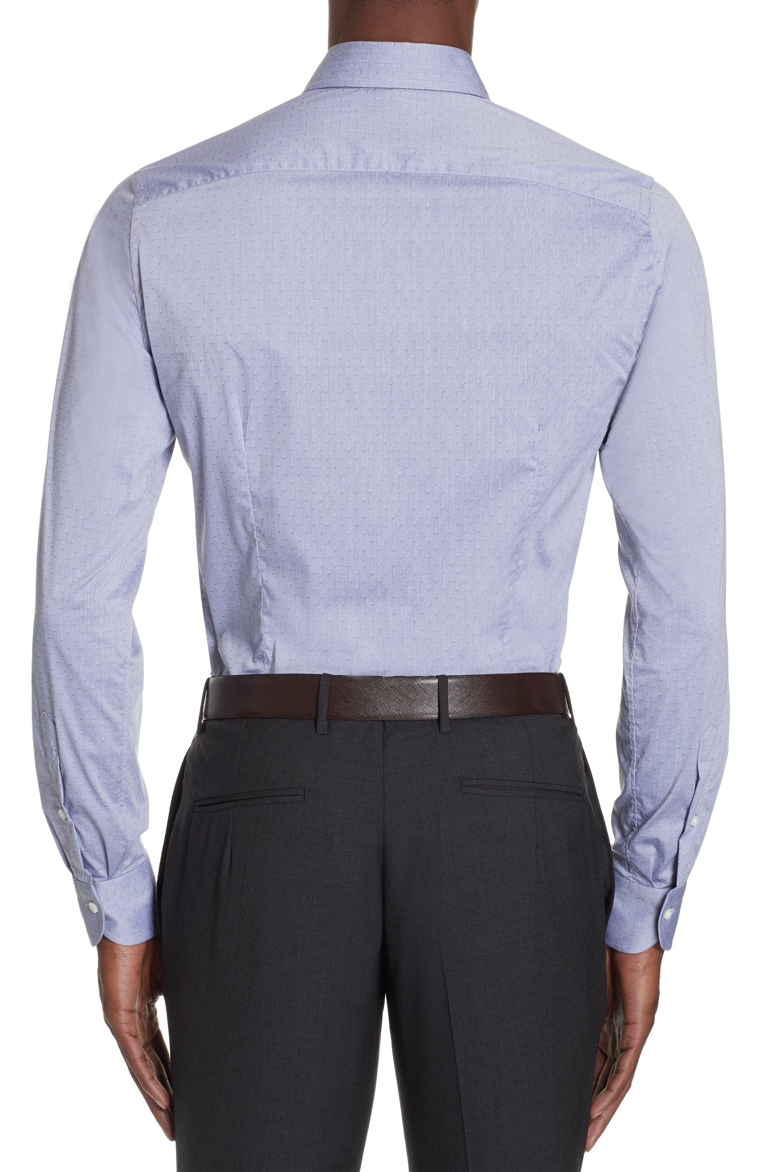 Slim Fit Stretch Dot Dress Shirt,                             Alternate thumbnail 3, color,                             MED GREY