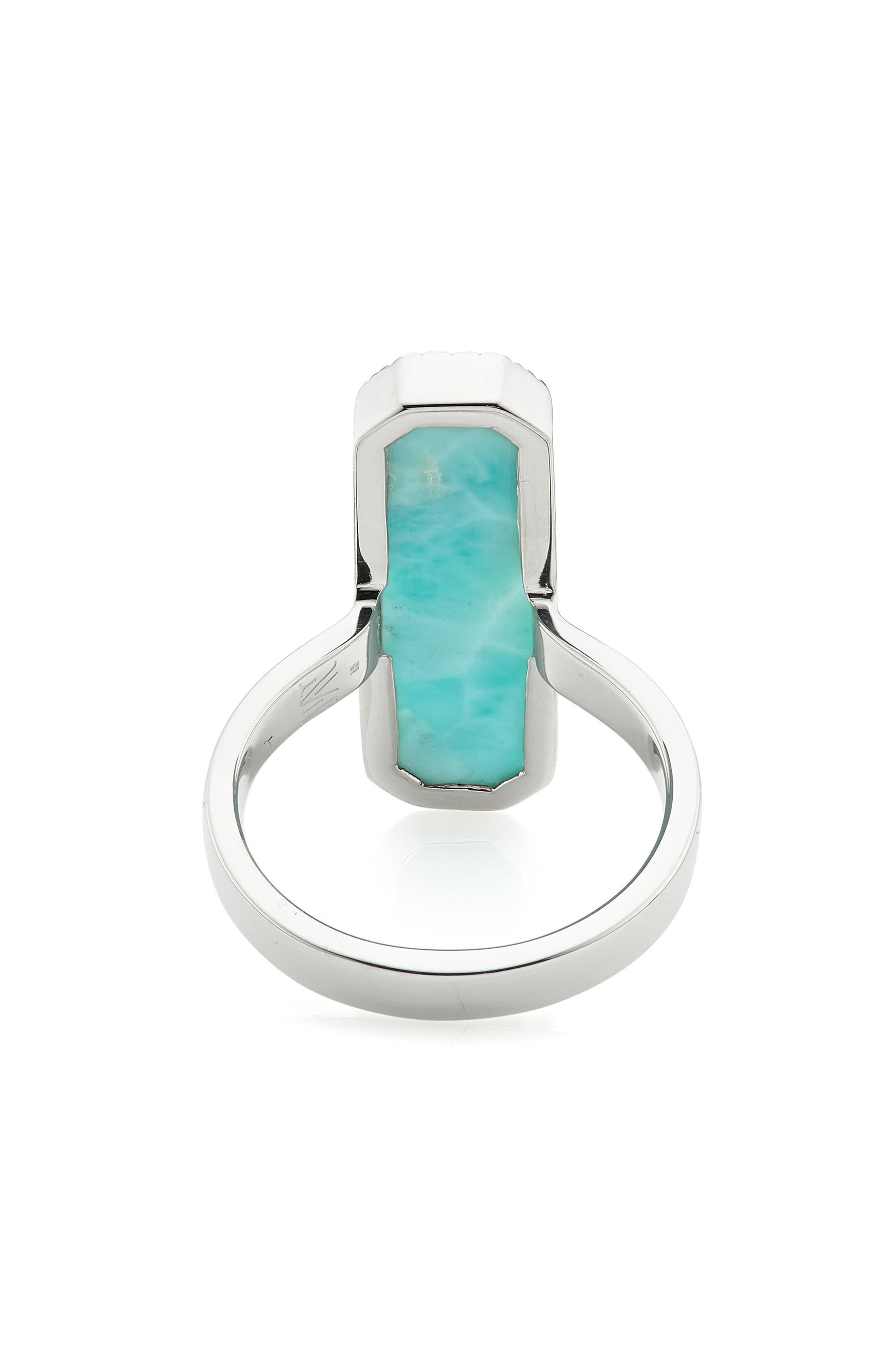 Naida Diamond & Larimar Cocktail Ring,                             Alternate thumbnail 3, color,                             040