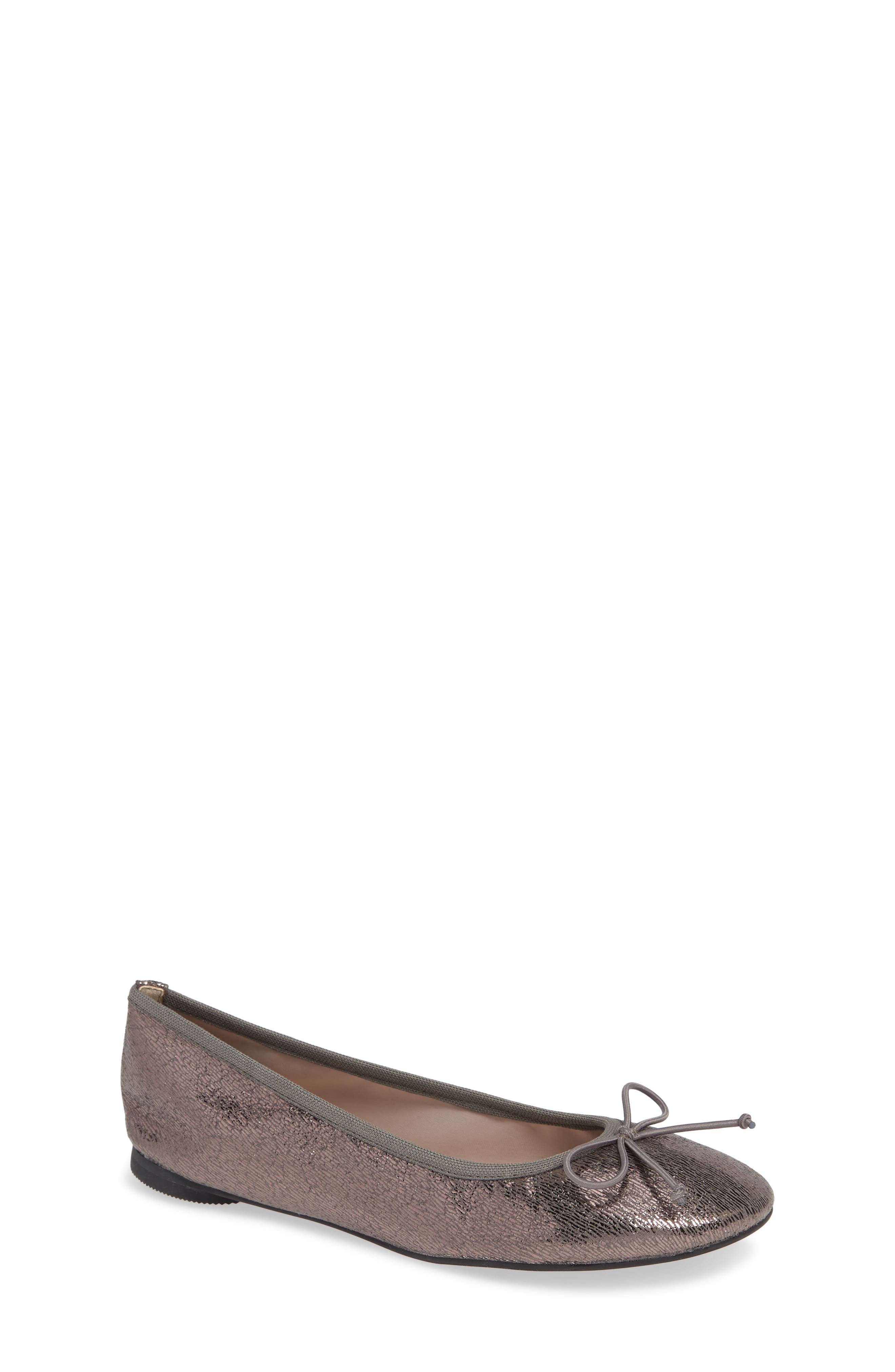 Bella Ballet Flat,                             Main thumbnail 1, color,                             PEWTER SHIMMER FAUX LEATHER