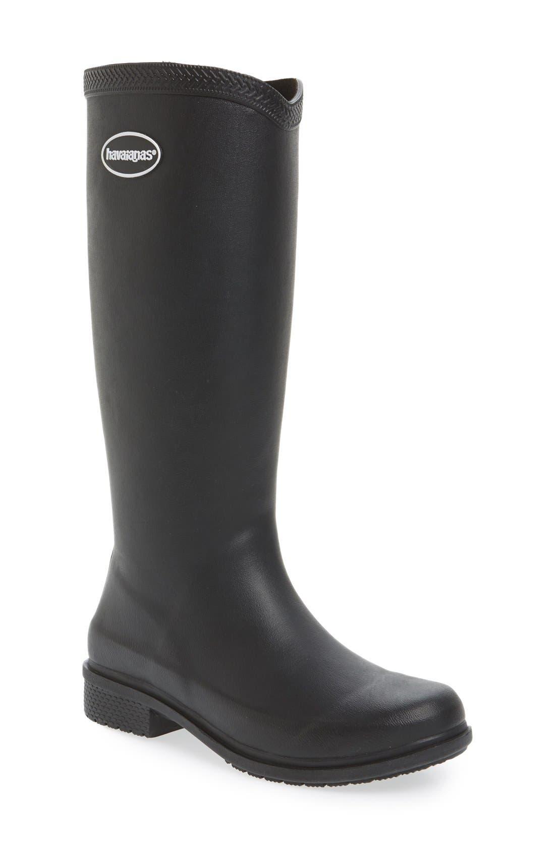 'Galochas Hi Matte' Waterproof Rain Boot,                             Main thumbnail 1, color,                             001