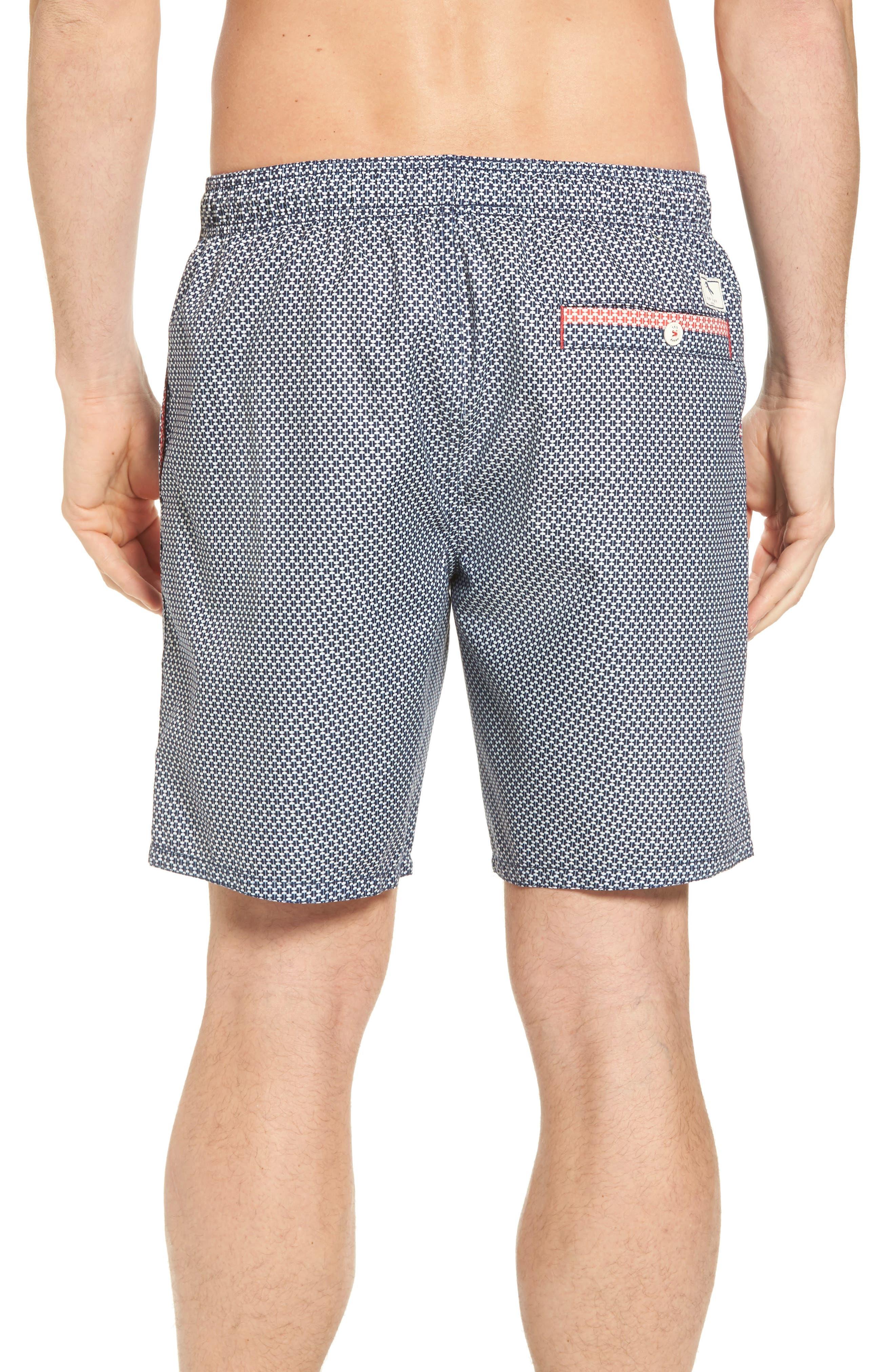 Larkman Geo Print Swim Shorts,                             Alternate thumbnail 4, color,