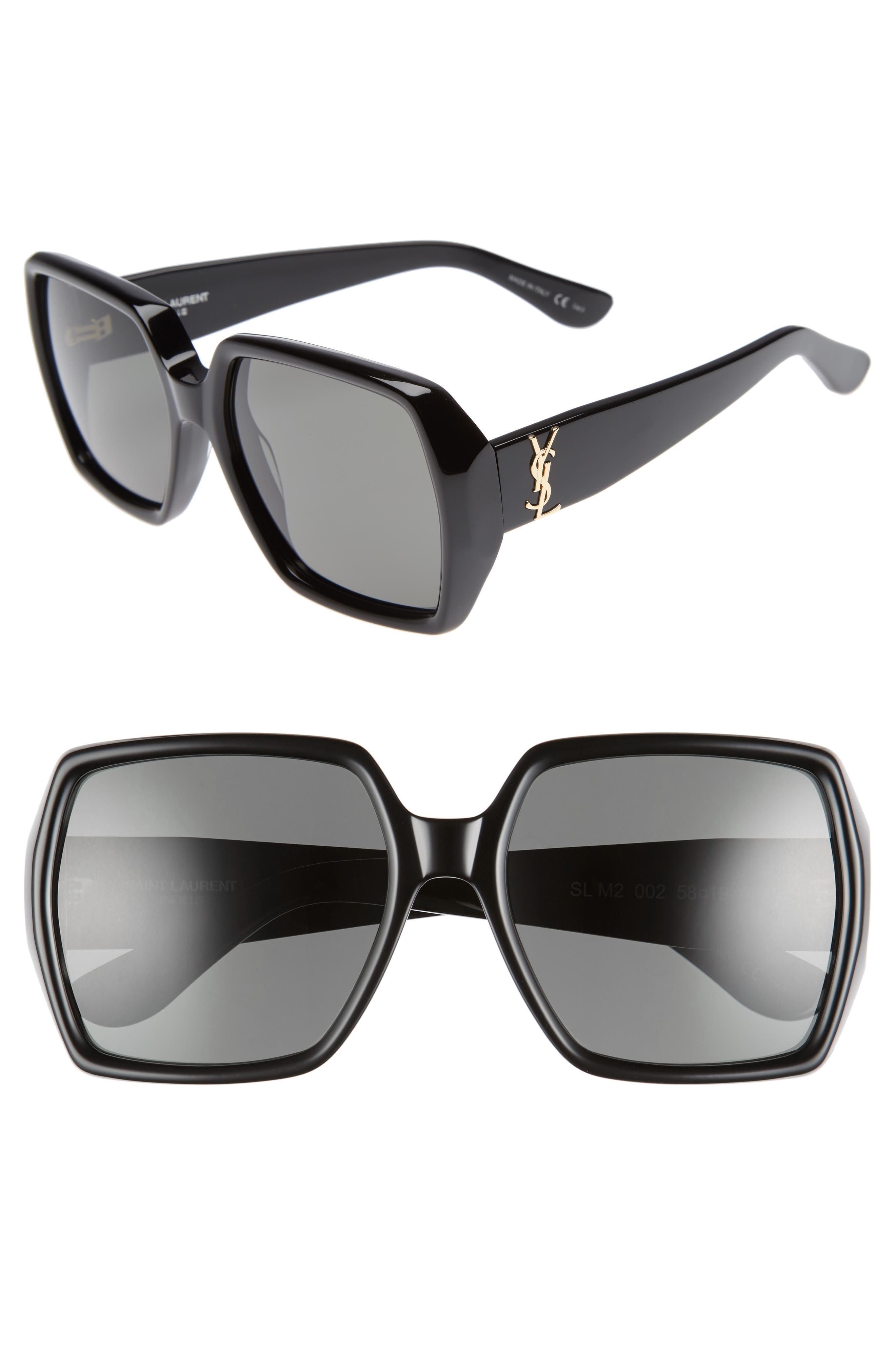 SAINT LAURENT 58mm Square Sunglasses, Main, color, 001