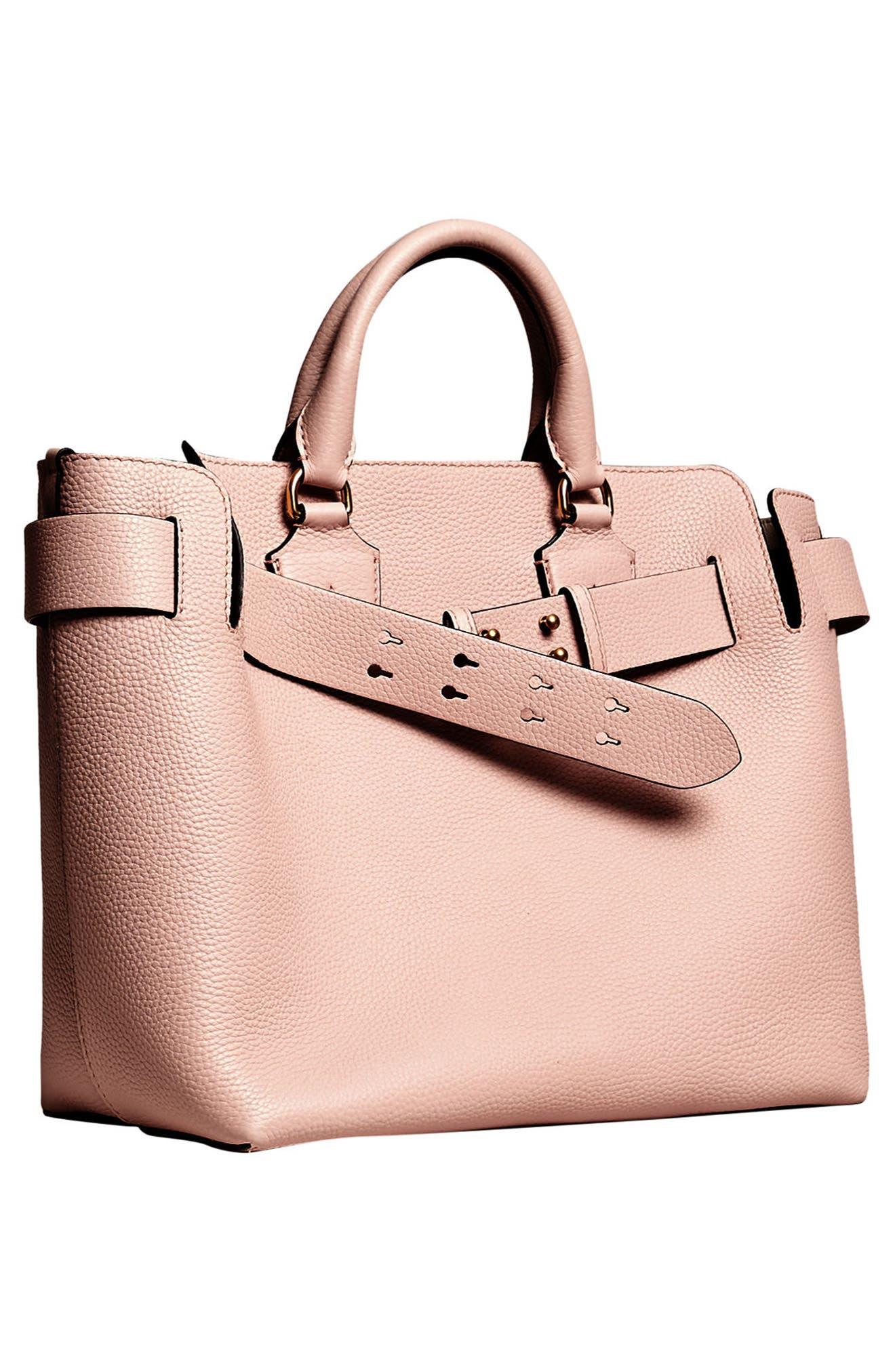 Medium Belt Bag Leather Tote,                             Alternate thumbnail 6, color,                             PALE ASH ROSE