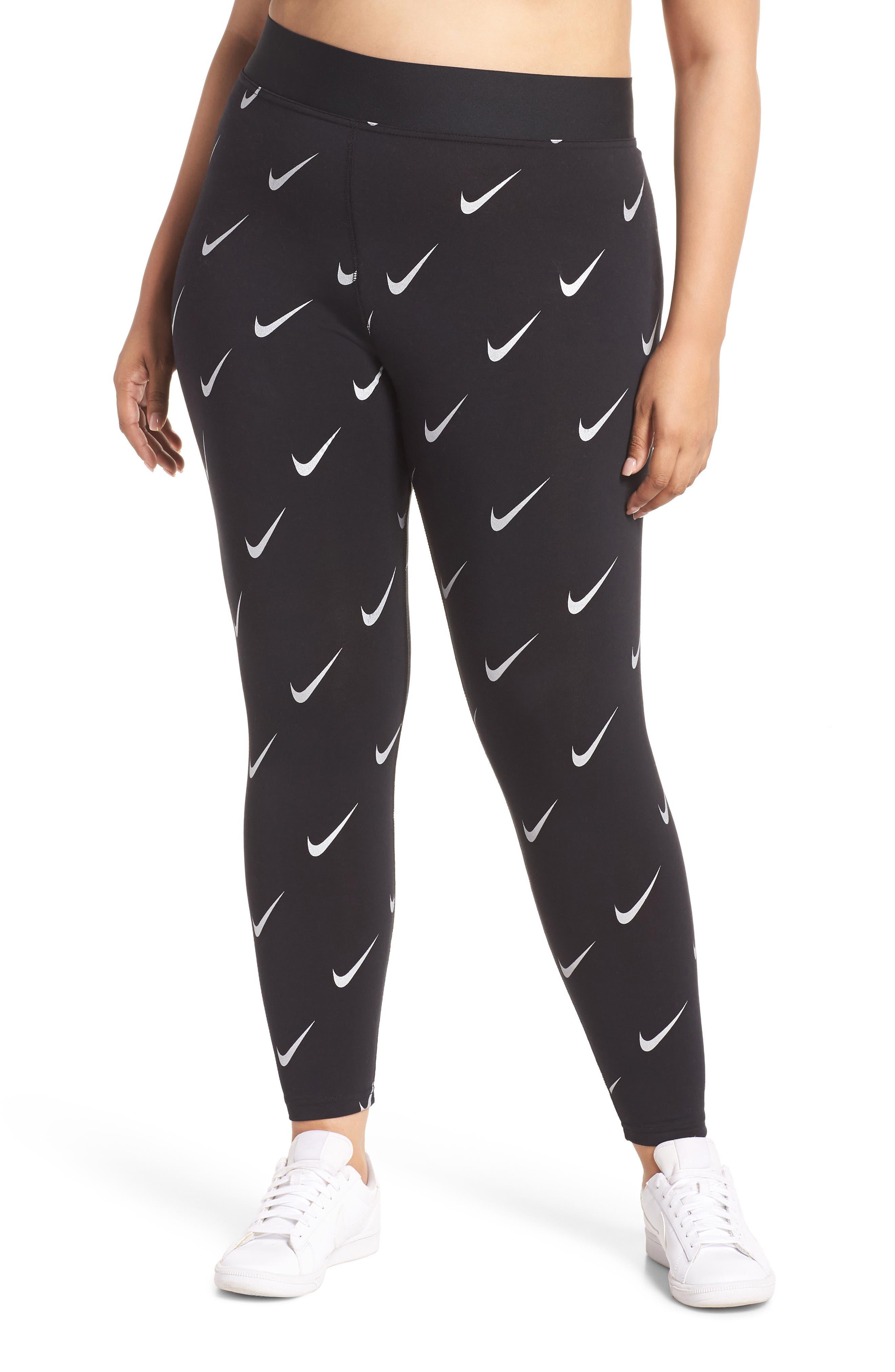 Sportswear Leg-A-See High Rise Print Leggings,                             Main thumbnail 1, color,                             BLACK