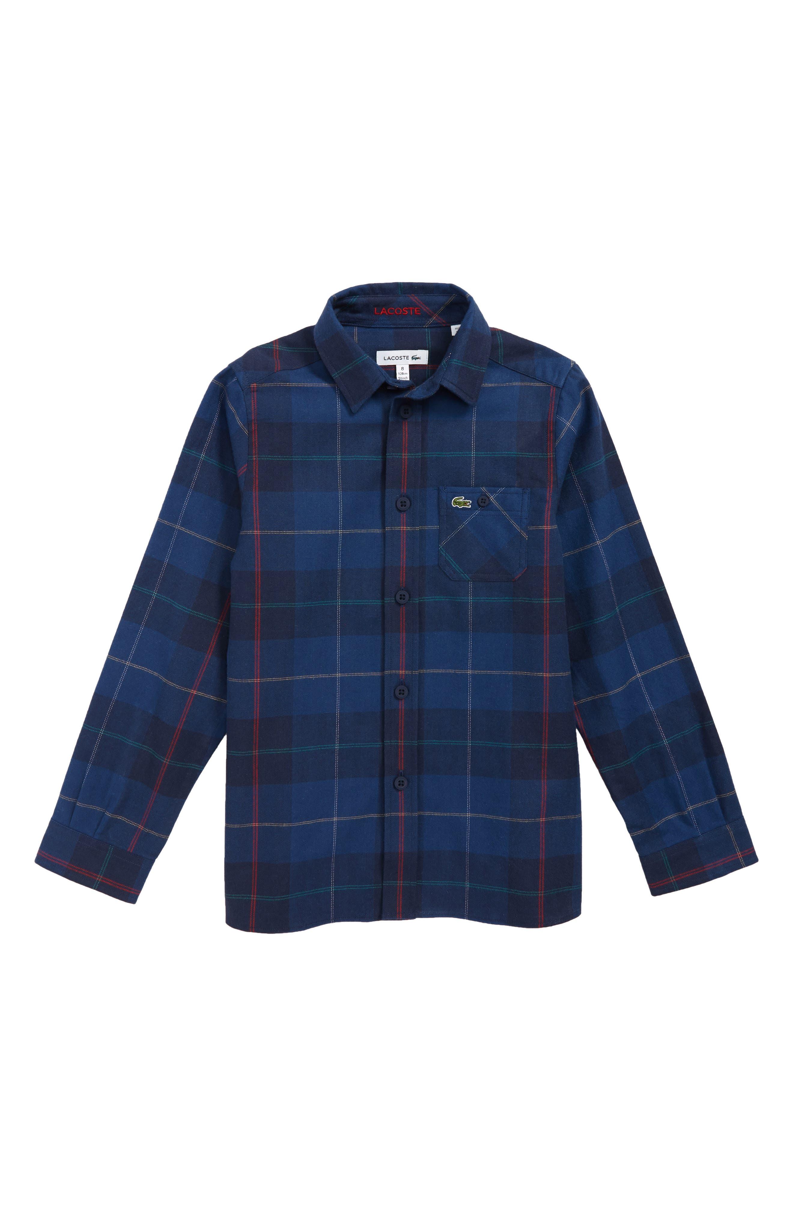 LACOSTE Plaid Flannel Woven Shirt, Main, color, C50 PRINT