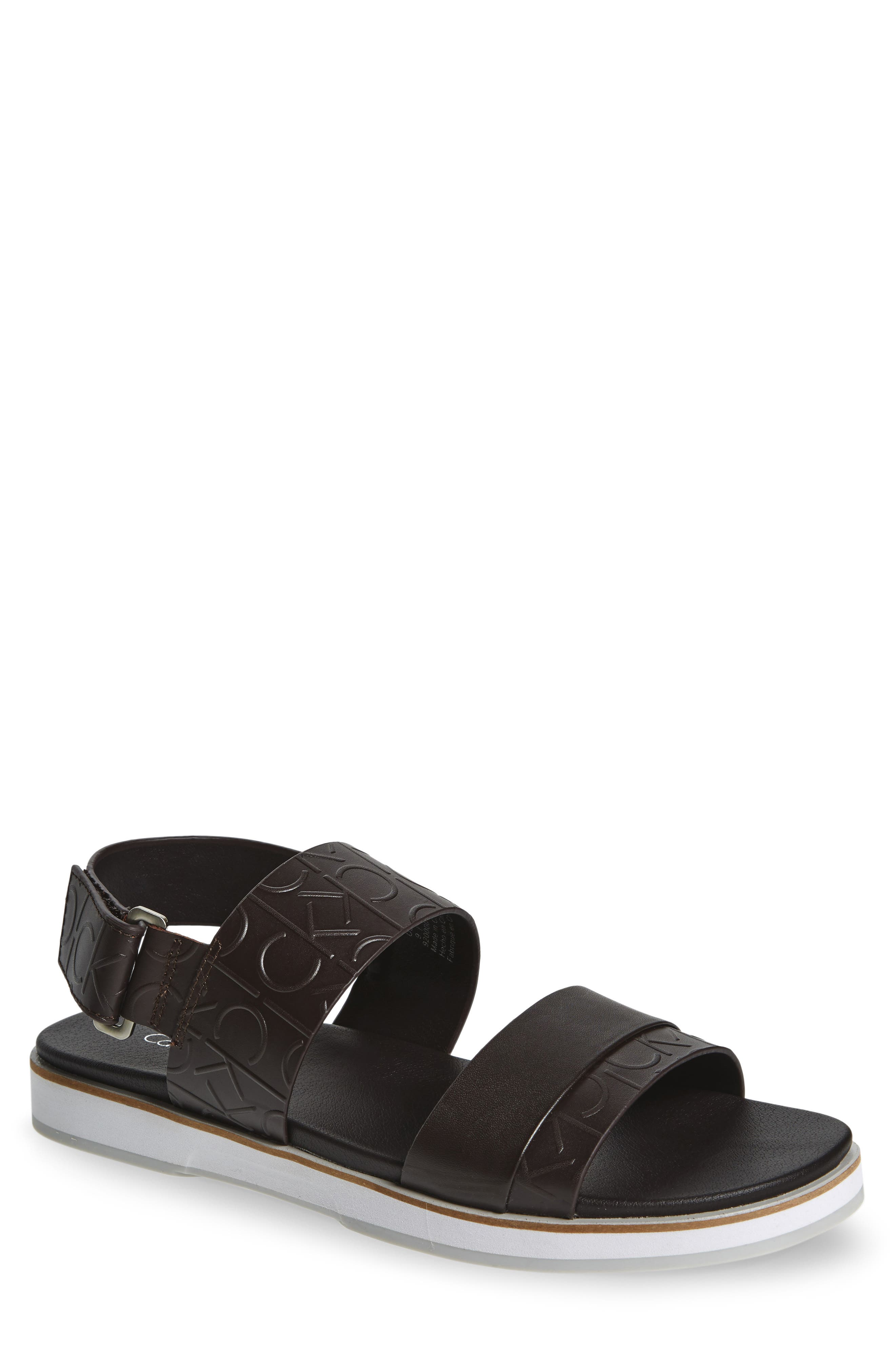 'Dex' Embossed Leather Sandal,                             Main thumbnail 6, color,