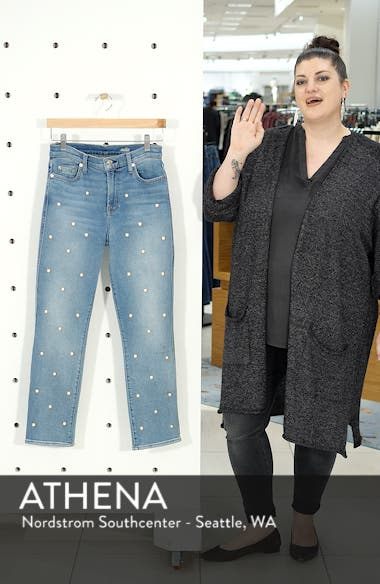Edie Faux Pearl Detail Ankle Jeans, sales video thumbnail