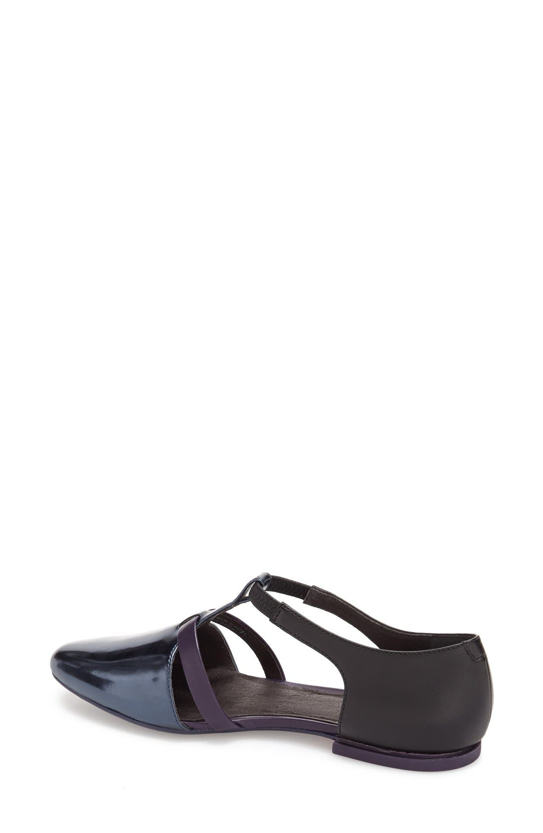 'Isadora' T-Strap Leather Flat,                             Alternate thumbnail 3, color,                             001